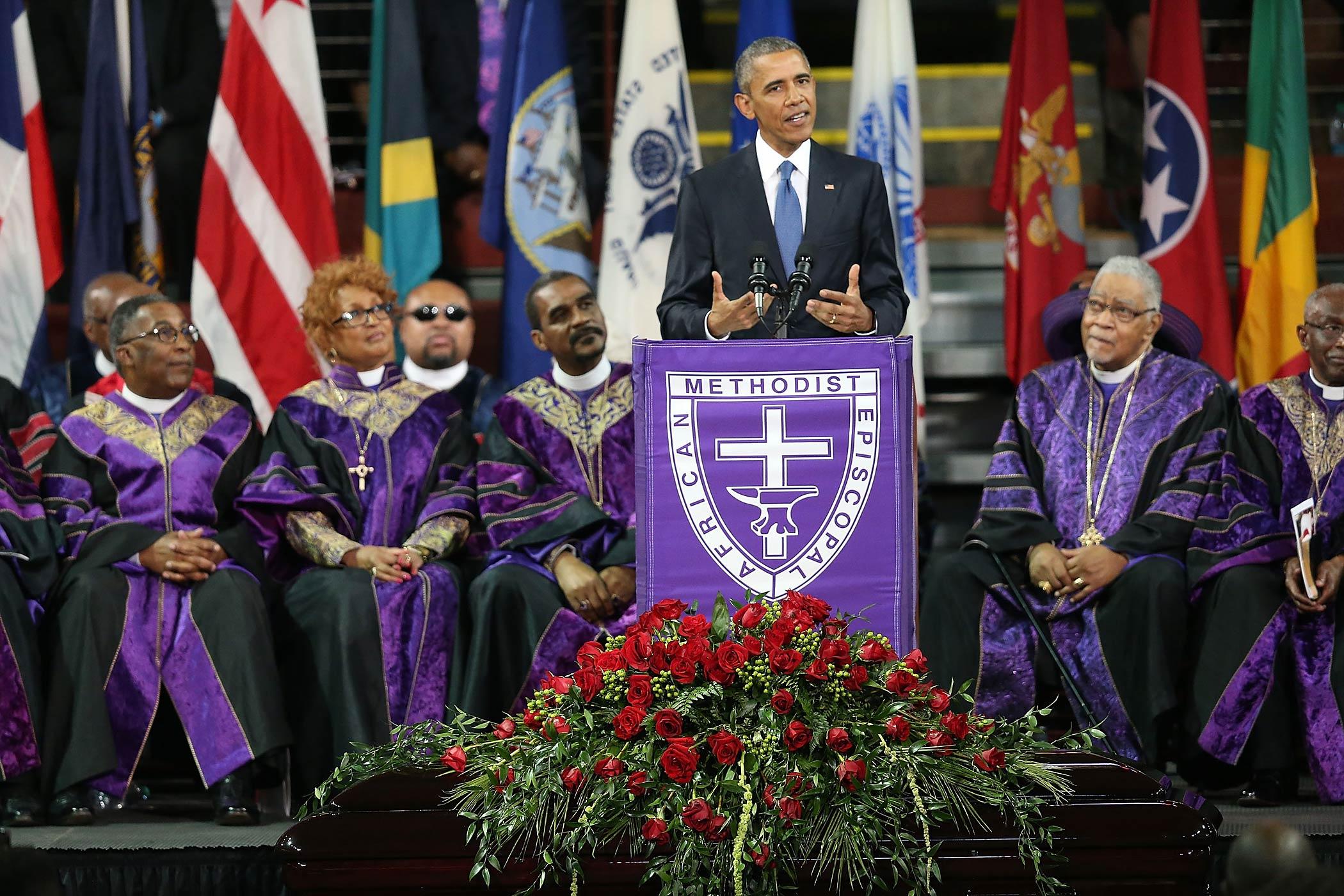 President Barack Obama delivers the eulogy for South Carolina state senator and Rev. Clementa Pinckney during Pinckney's funeral service on June 26, 2015 in Charleston, S.C.