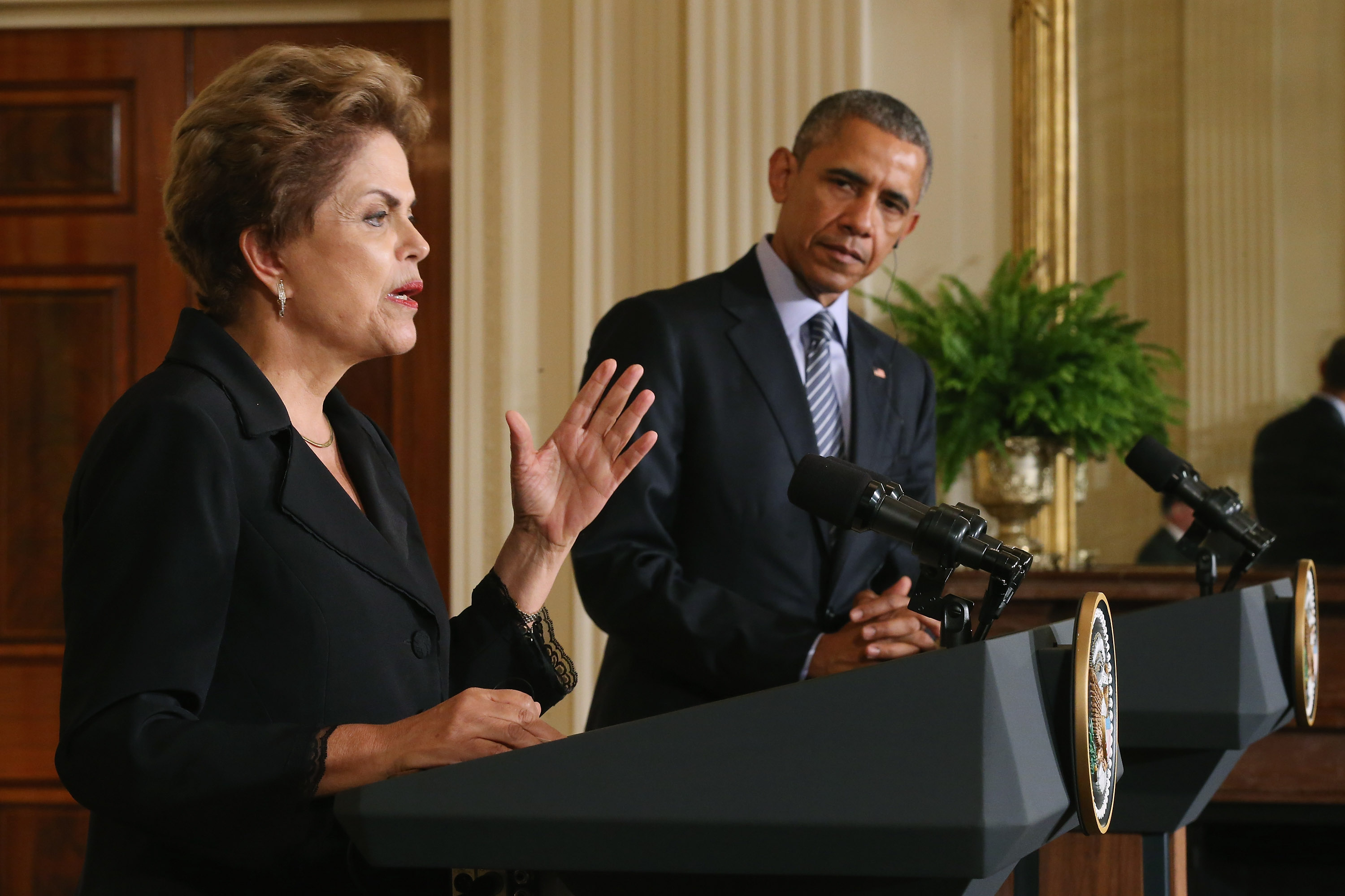 Brazilian President Dilma Rousseff and U.S. President Barack Obama hold a news conference at the White House June 30, 2015.