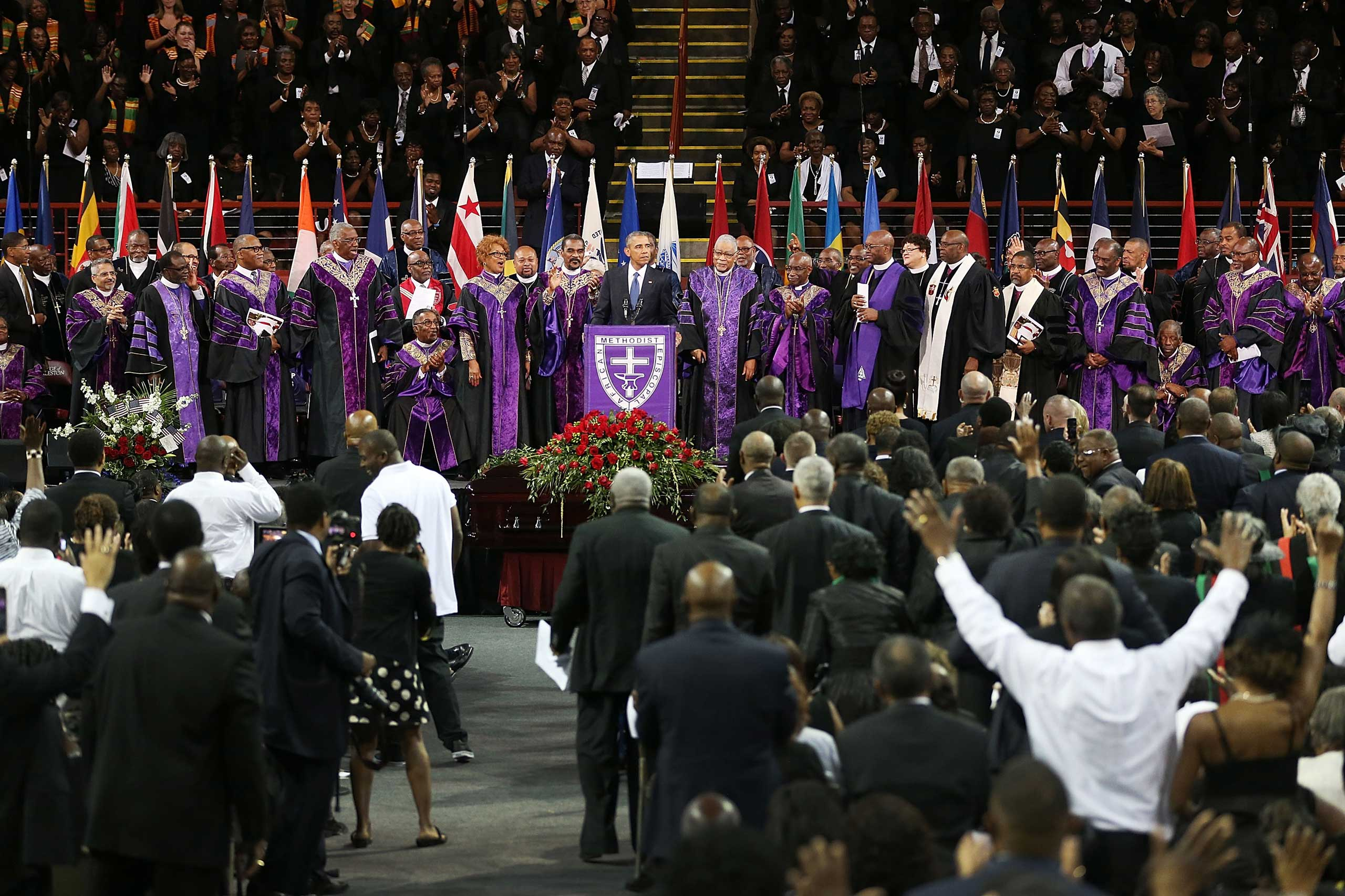 U.S. President Barack Obama delivers the eulogy for South Carolina state senator and Rev. Clementa Pinckney during Pinckney's funeral service June 26, 2015 in Charleston, South Carolina.