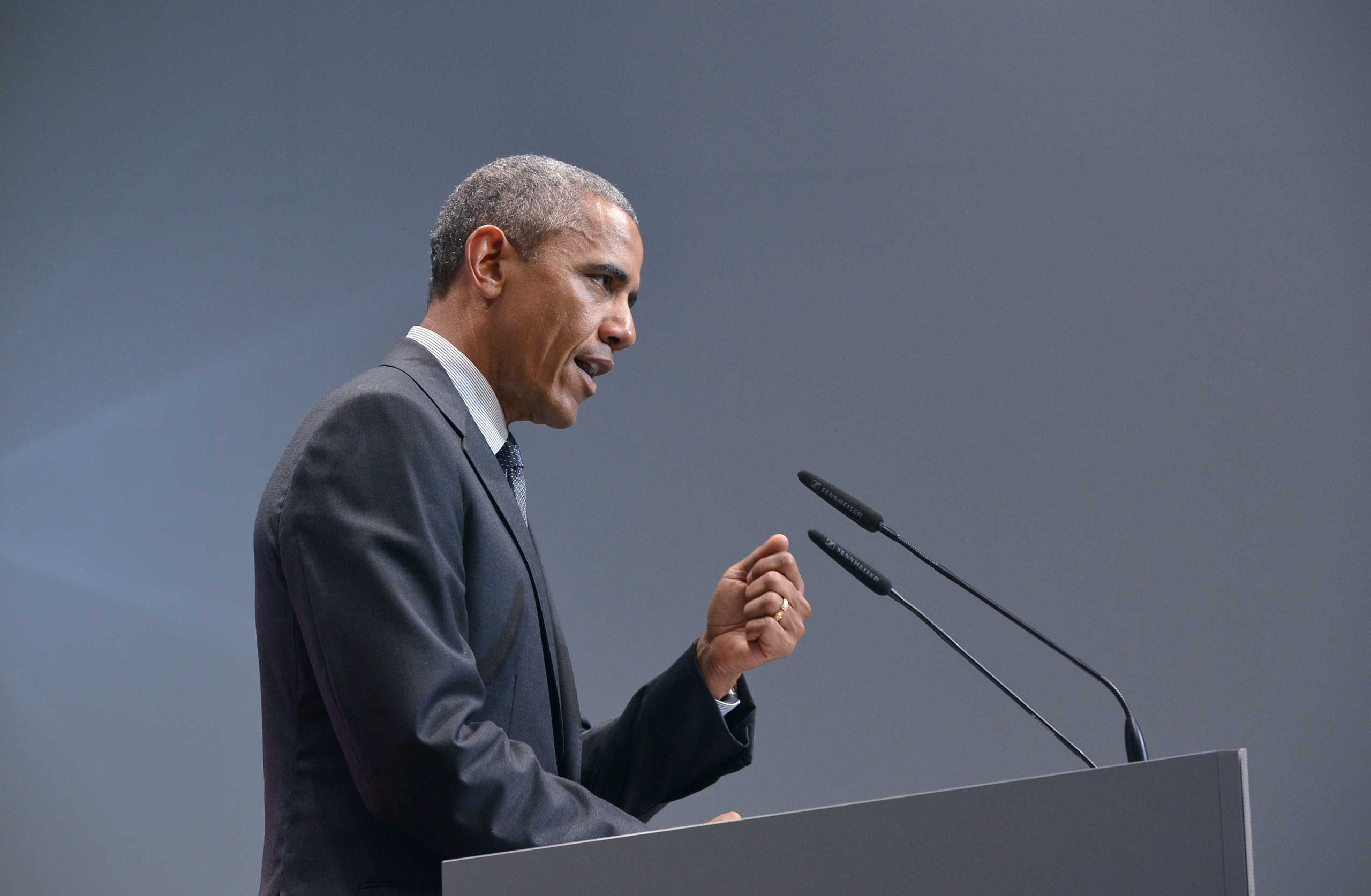 US President Barack Obama addresses a press conference at Elmau Castle near Garmisch-Partenkirchen, southern Germany,  at the end of a G7 summit, on June 8, 2015.
