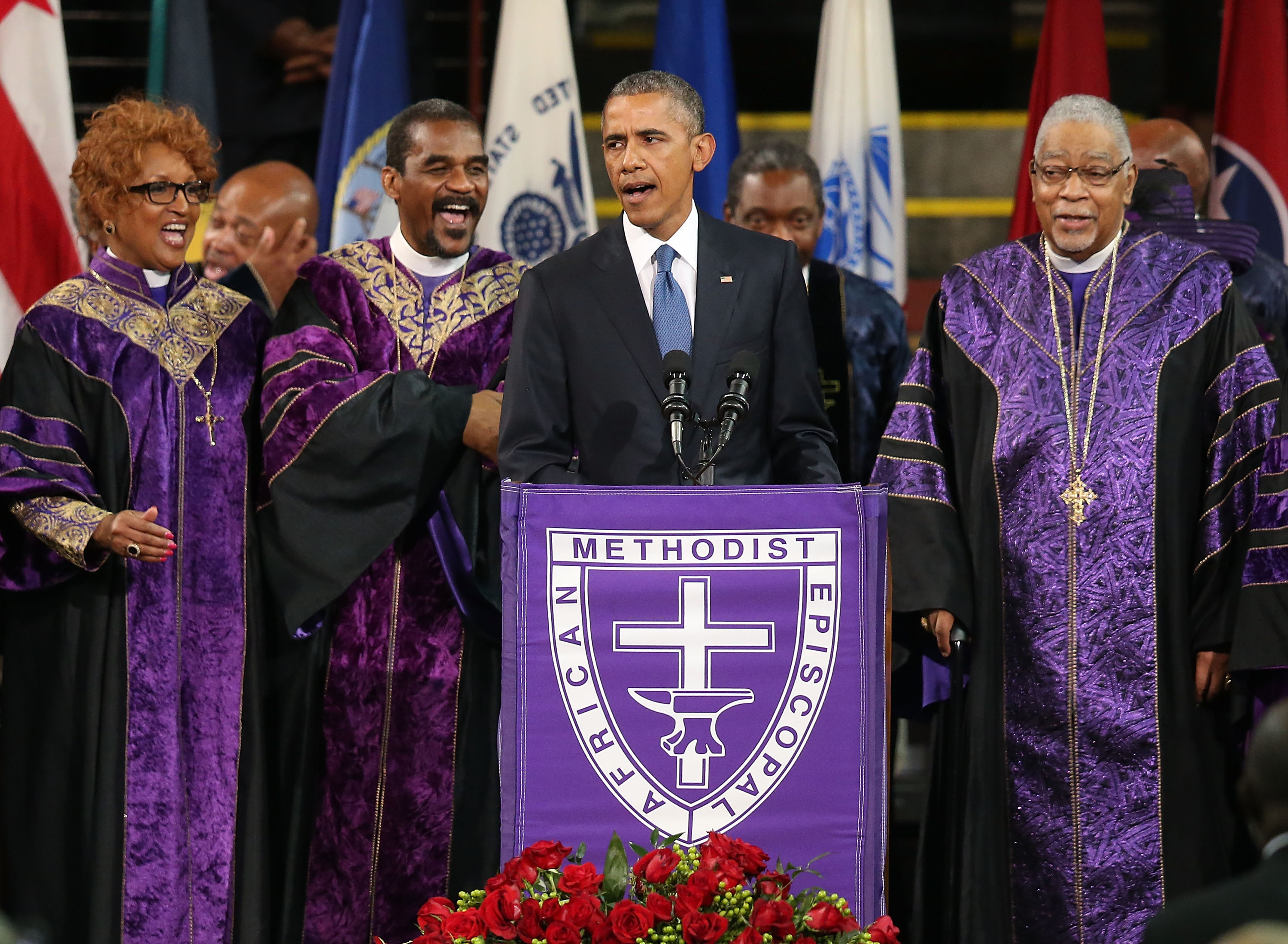 President Barack Obama sings  Amazing Grace  as he delivers the eulogy for South Carolina state senator and Rev. Clementa Pinckney during Pinckney's funeral service June 26, 2015 in Charleston, S.C.