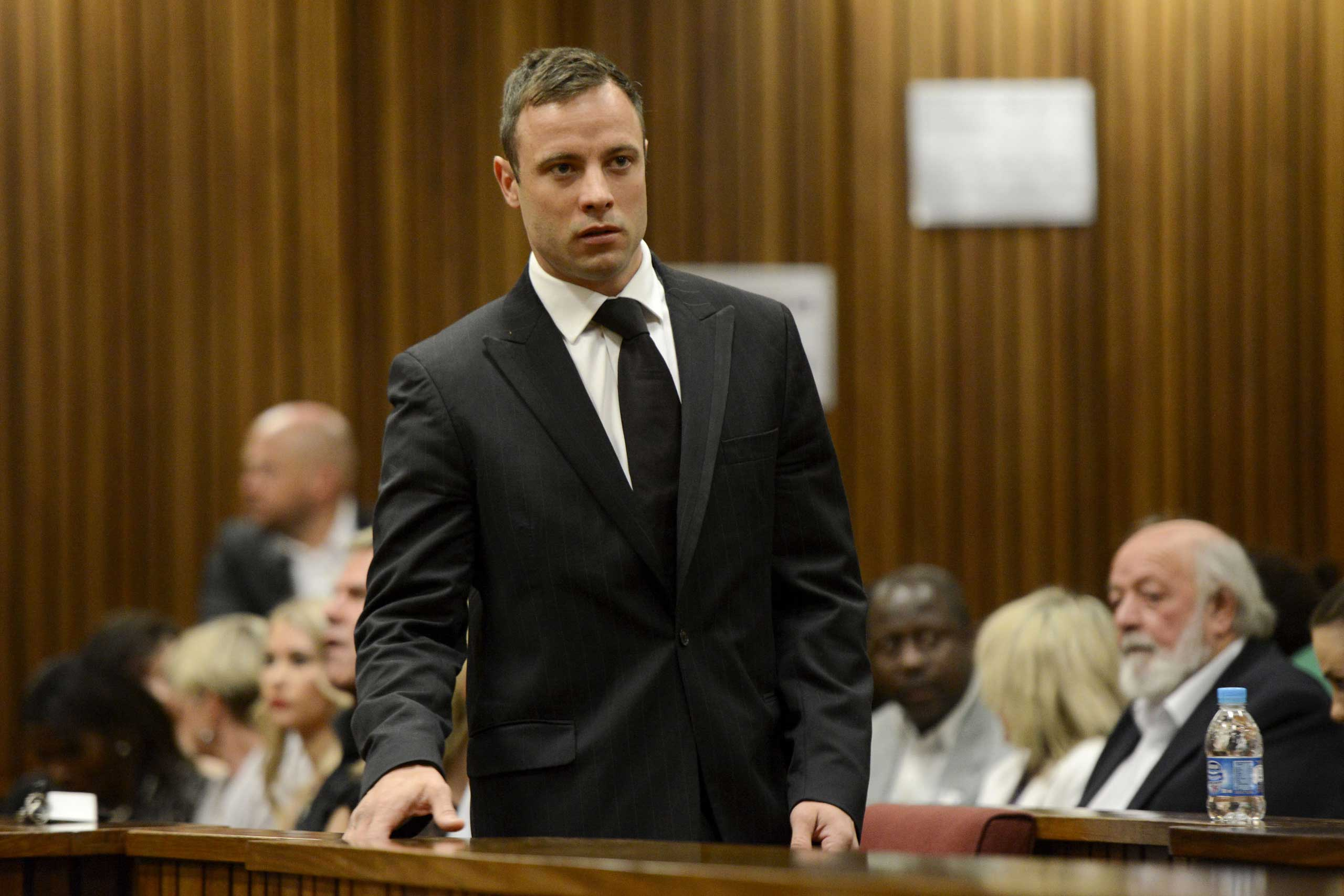 Oscar Pistorius arrives in the Pretoria High Court for sentencing in his murder trial on Oct. 21, 2014, in Pretoria, South Africa
