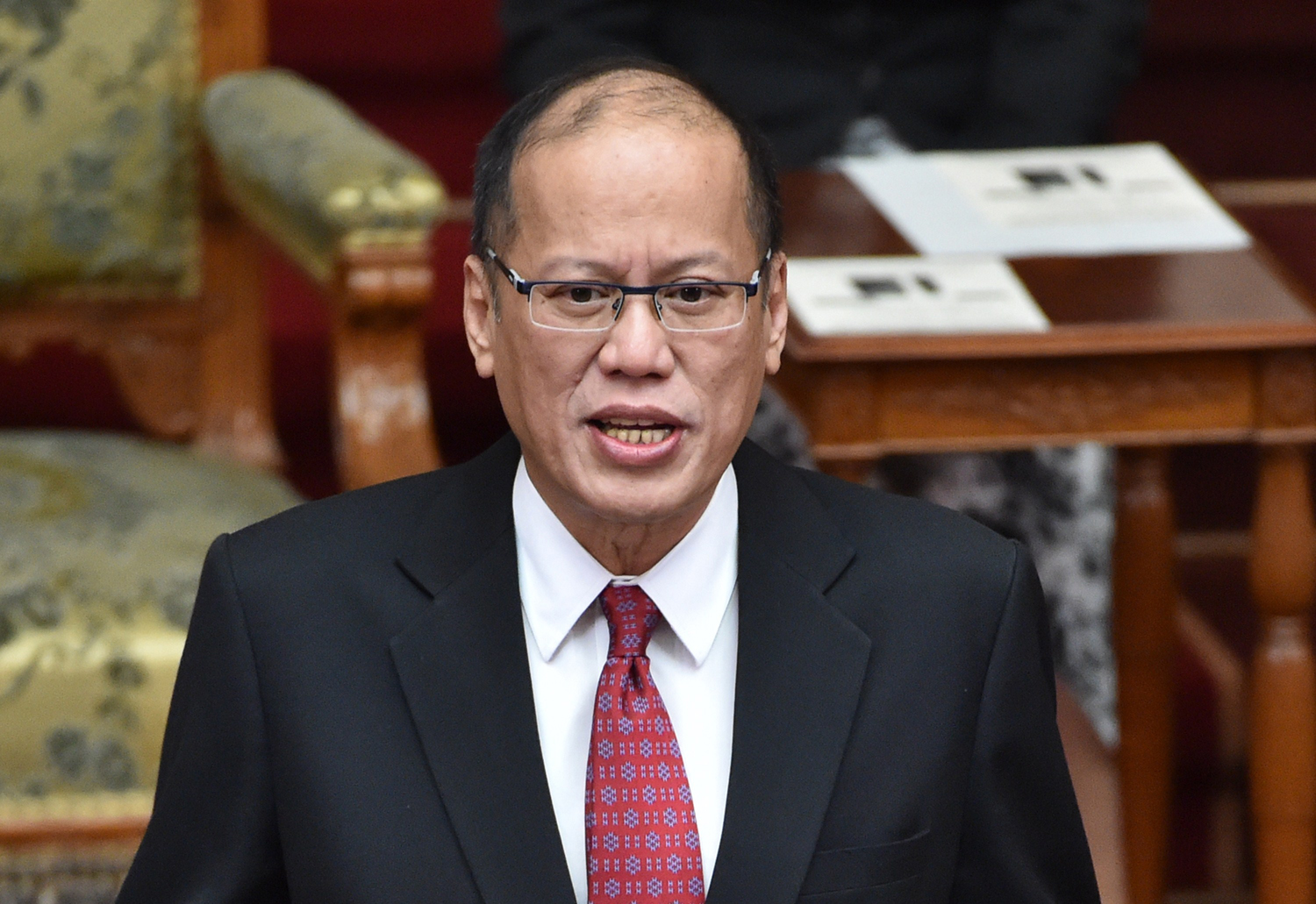 Philippine President Benigno Aquino delivers a speech in the Japanese parliament during his visit to Tokyo on June 3, 2015.