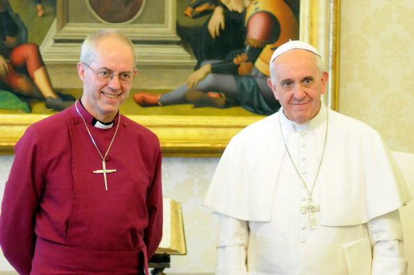 Pope Francis meets Archbishop of Canterbury Justin Welby at his private library on June 14, 2013 in Vatican City, Vatican.