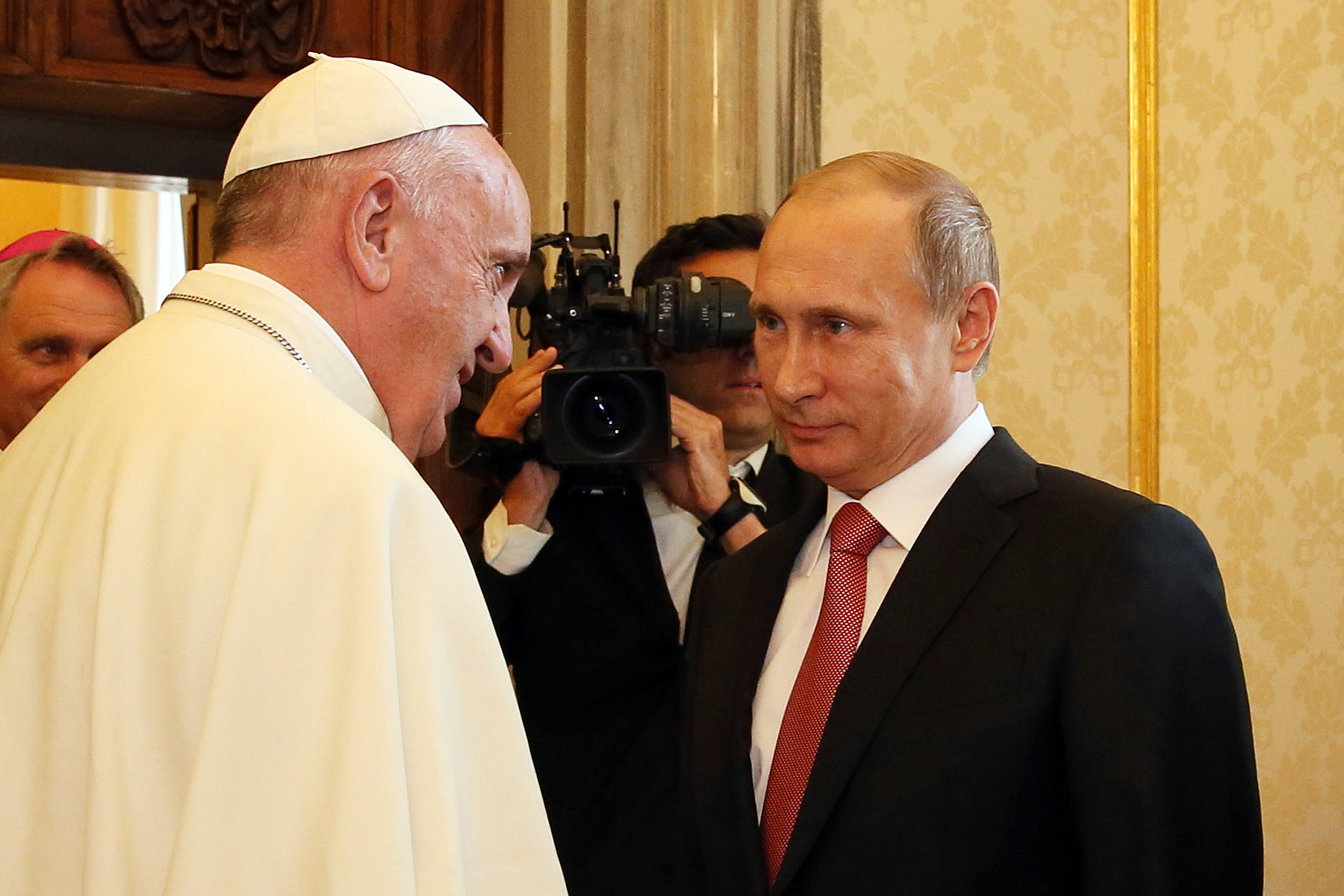 Pope Francis meets President of Russian Federation Vladimir Putin during an audience at the Apostolic Palace on June 10, 2015 in Vatican City, Vatican.