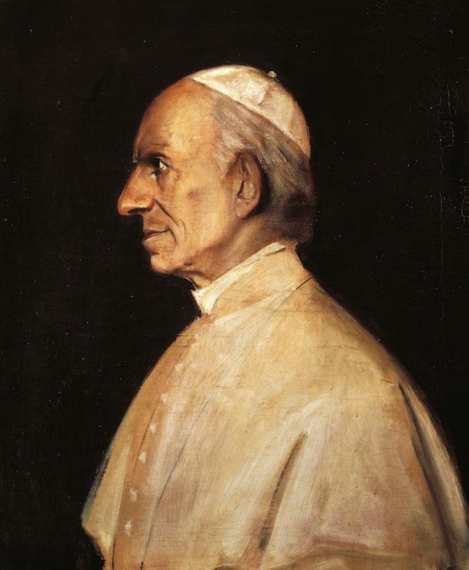 Portrait of Pope Leo XIII (Carpineto Romano, 1810-Rome, 1903), painting by Franz Seraph von Lenbach (1836-1904), 1885.