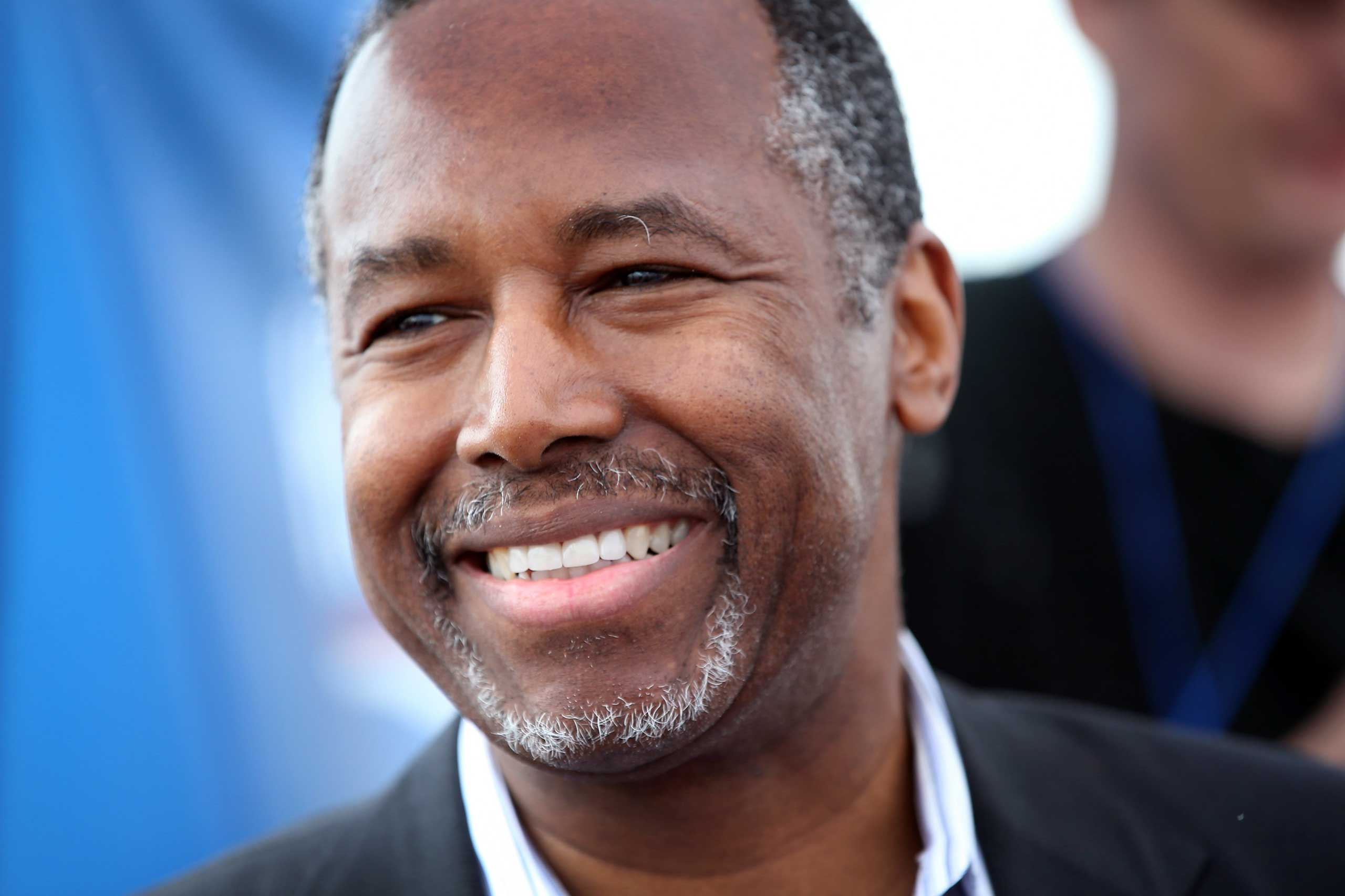 Republican presidential hopeful Dr. Ben Carson speaks at a Roast and Ride event hosted by freshman Senator Joni Ernst (R-IA) on June 6, 2015 in Boone, Iowa.