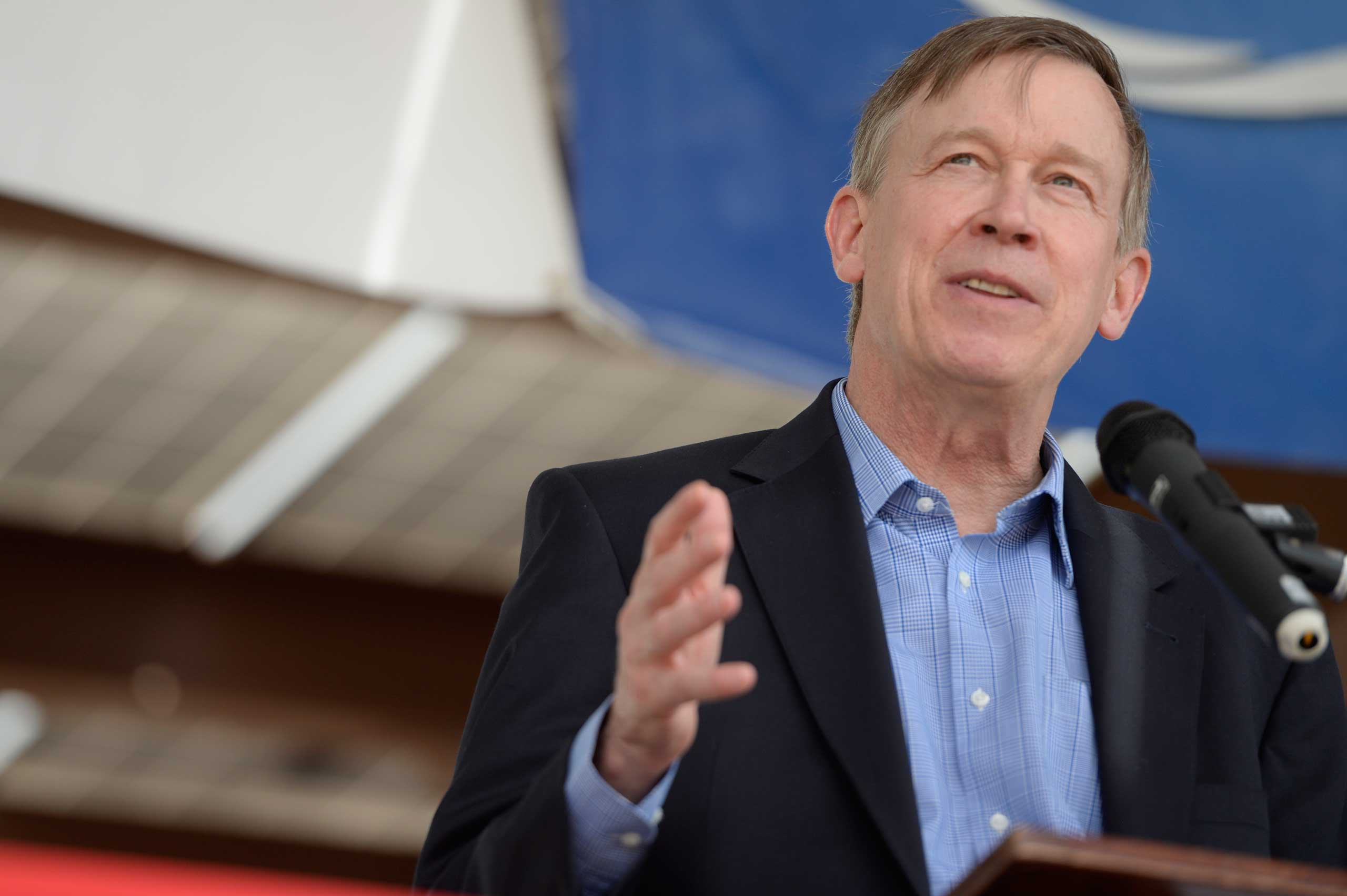 Governor John Hickenlooper talks about the new 1MW solar array Thursday, May 14, 2015 at the Intel Corporation in Fort Collins, Colorado.