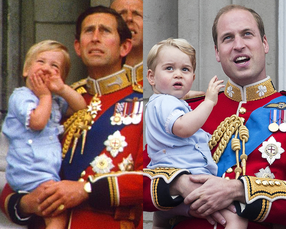 Prince William and Prince Charles in 1984 (left) and Prince George and Prince William in 2015.