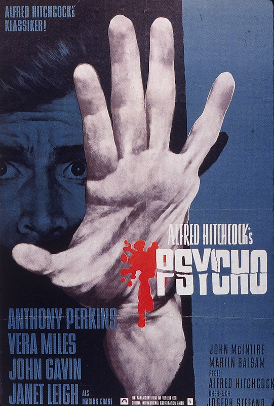 German movie poster for director Alfred Hitchcock's classic film 'Psycho,' 1960
