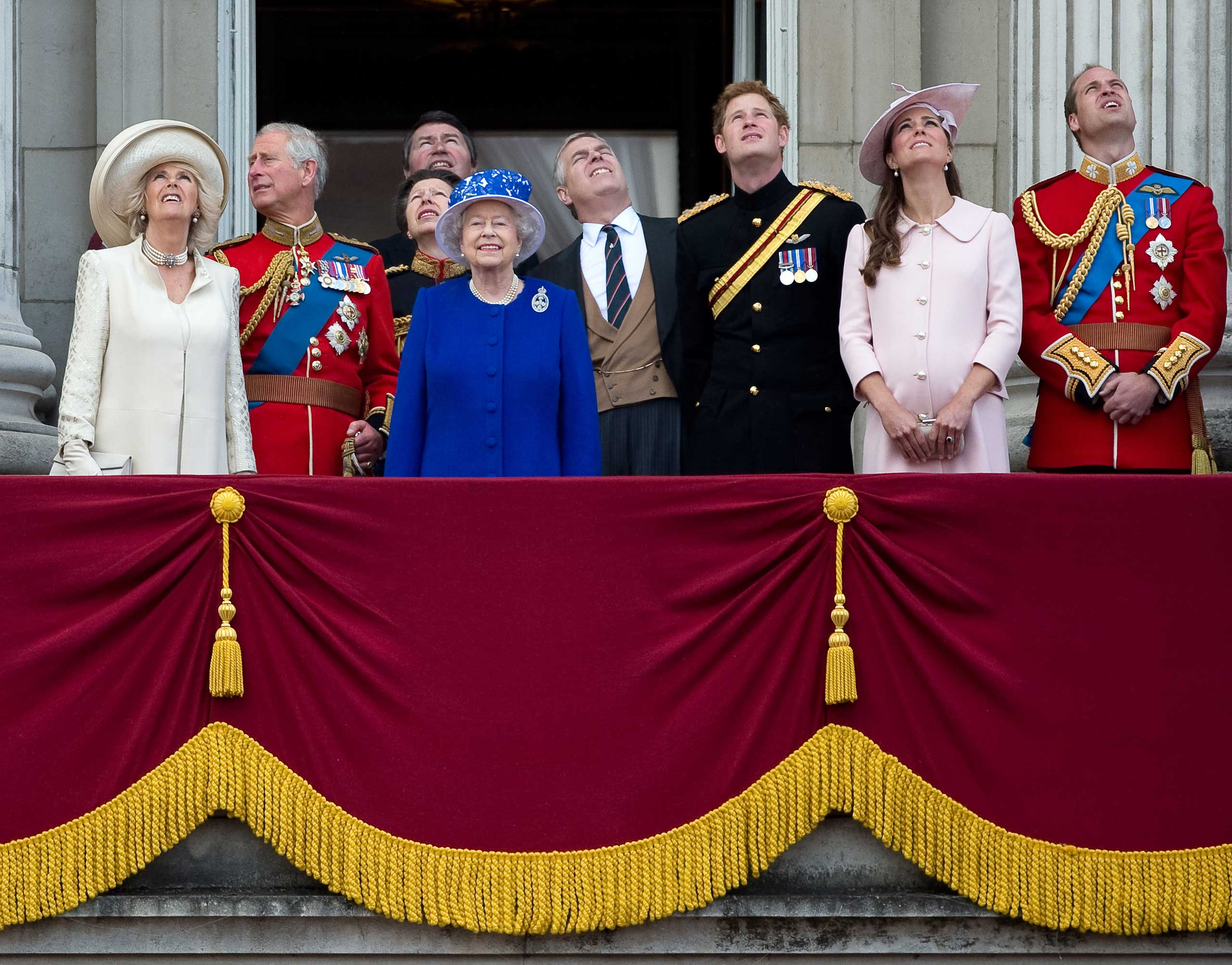 Queen Elizabeth II stands on the balcony of Buckingham Palace with members of the royal family after the Trooping the Colour ceremony to celebrate her official birthday in June 2013.