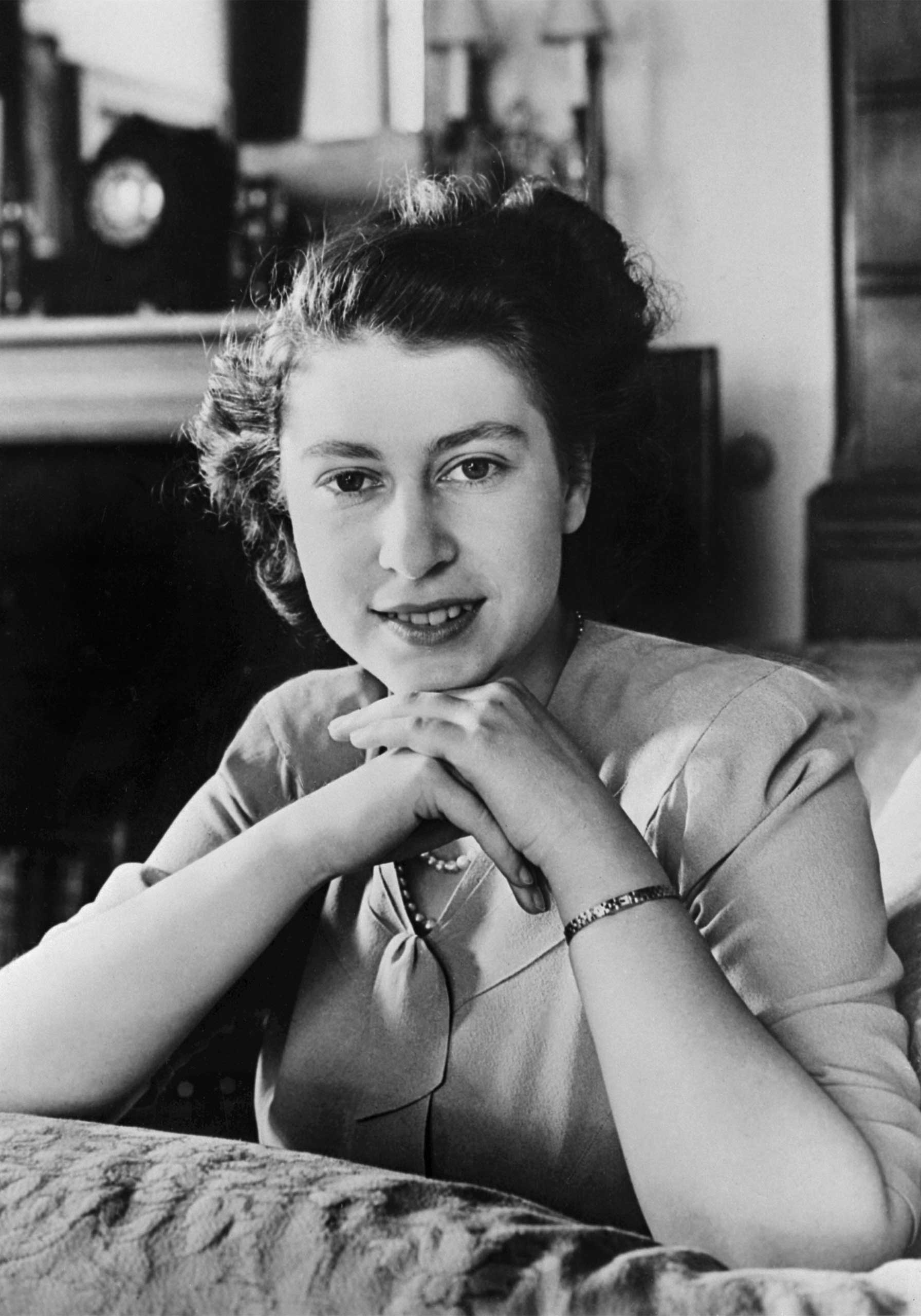 Official portrait of then-Princess Elizabeth, taken three days before her 21st birthday in April 1947.