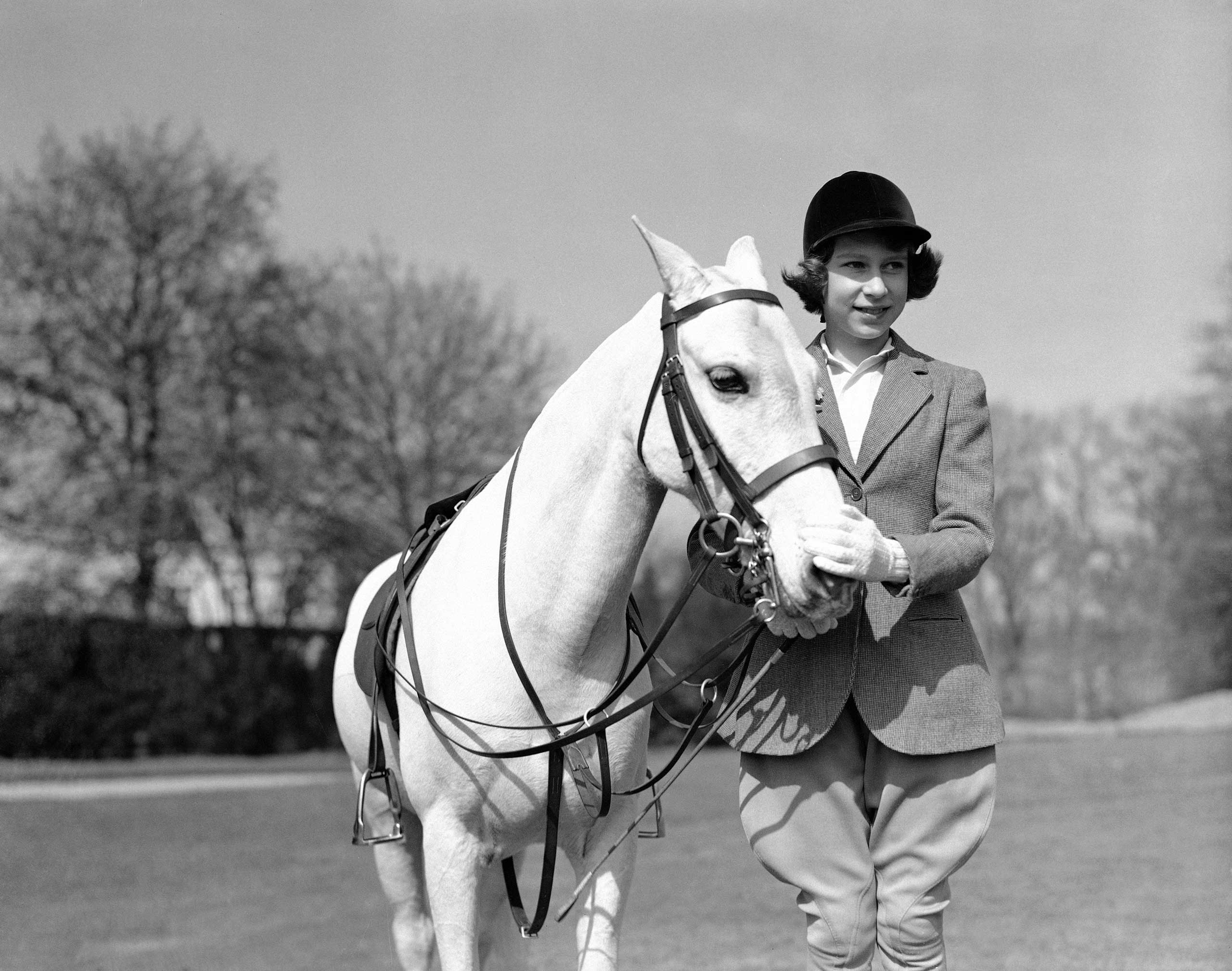 Then-Princess Elizabeth on her 13th birthday in April 1939.