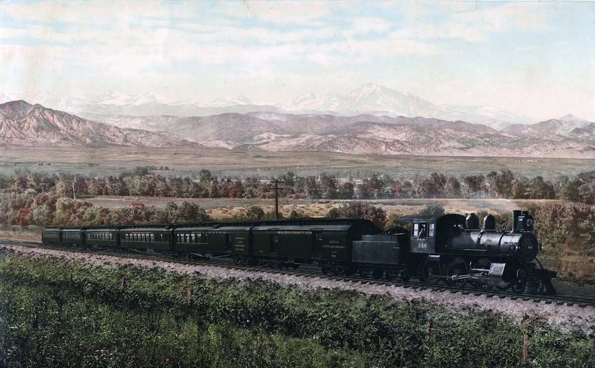 Photomechanical print of the Chicago Special, Burlington Route, a Class I railroad that operated in the Midwestern United States. Dated 1900.