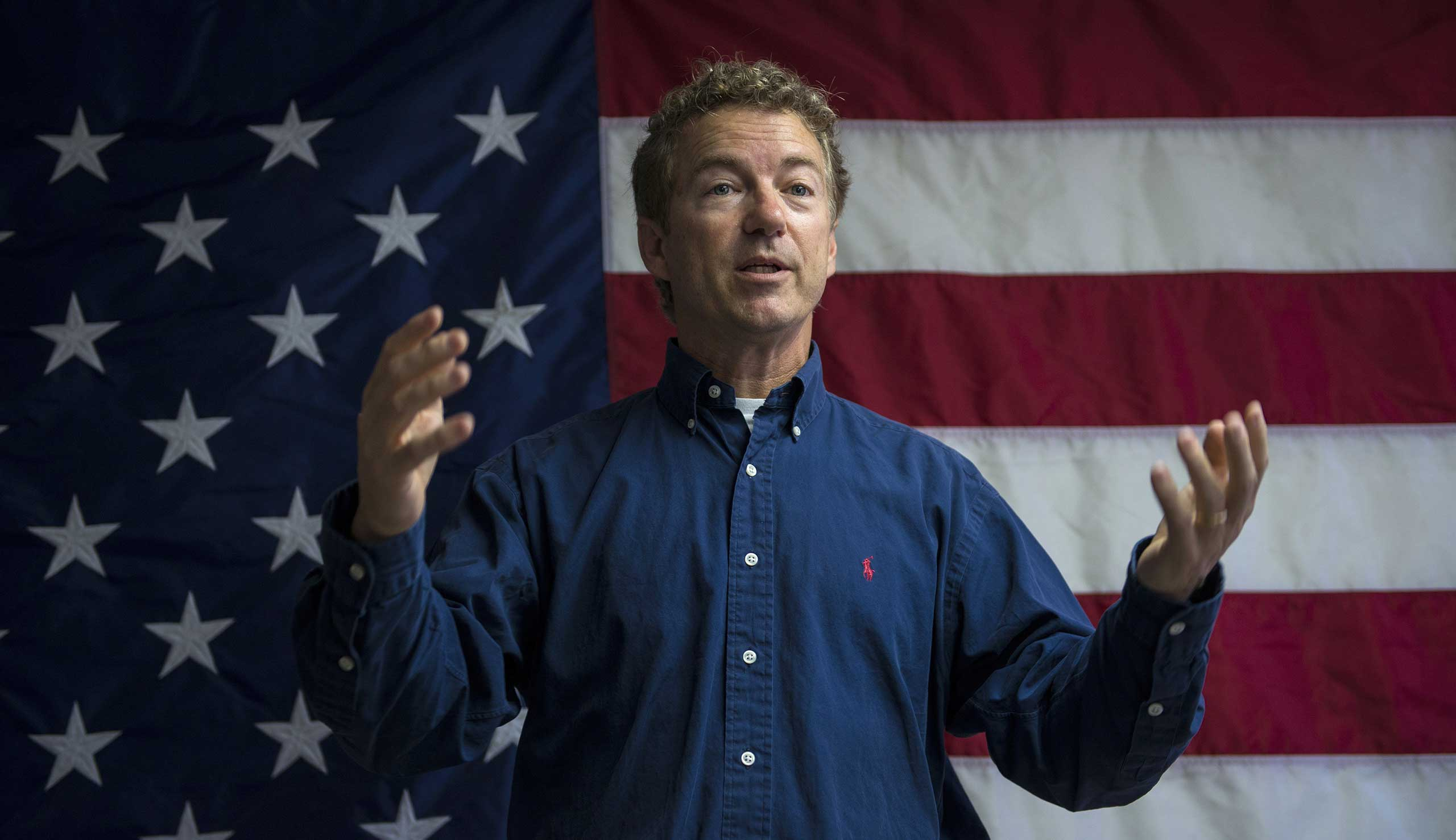 Republican presidential candidate and US Senator Rand Paul (R-TN) at the opening of his New Hampshire campaign office in Manchester, NH on June 5, 2015.
