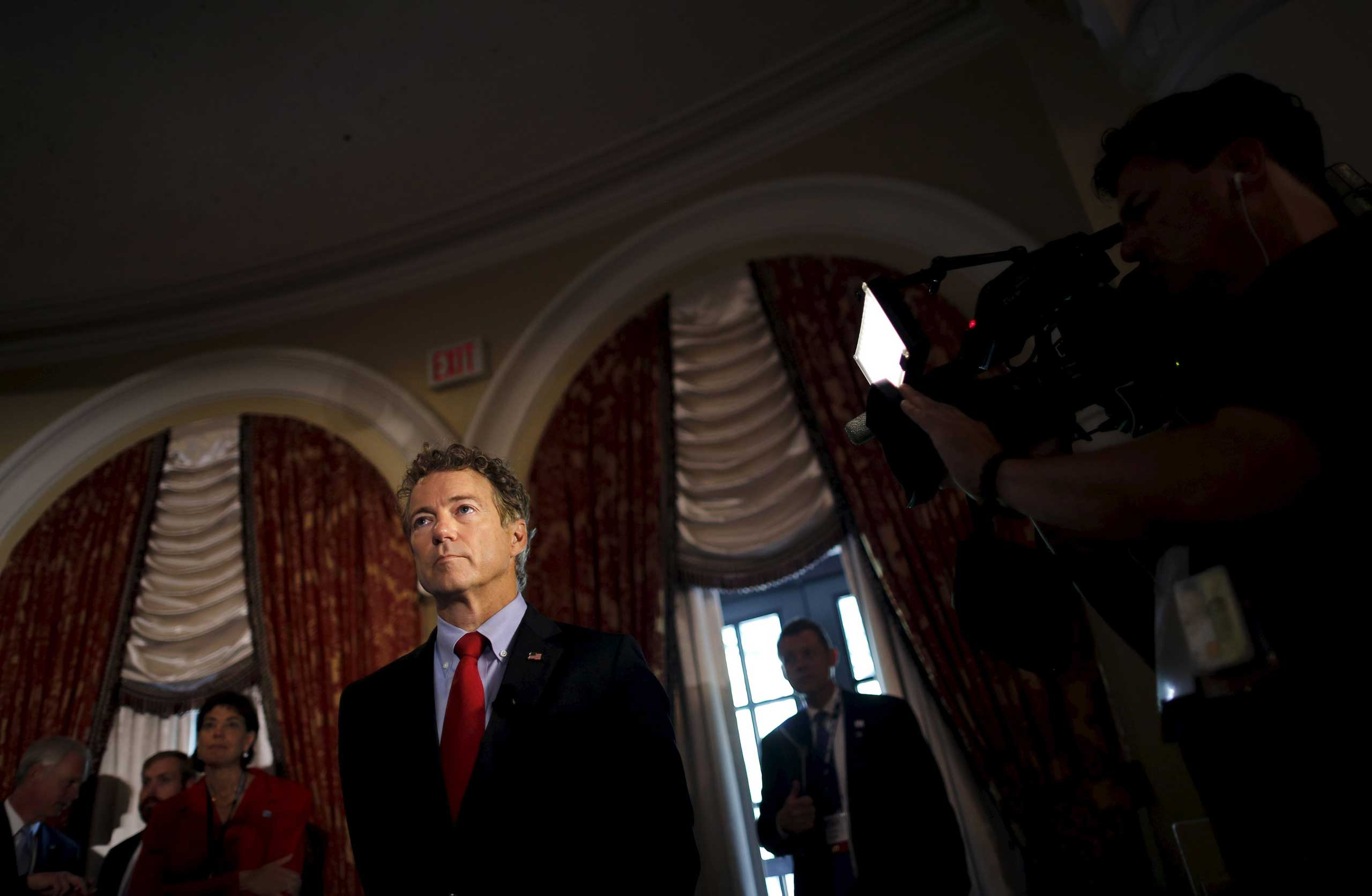 Republican presidential candidate Senator Rand Paul waits before addressing a legislative luncheon held as part of the  Road to Majority  conference in Washington on  June 18, 2015.