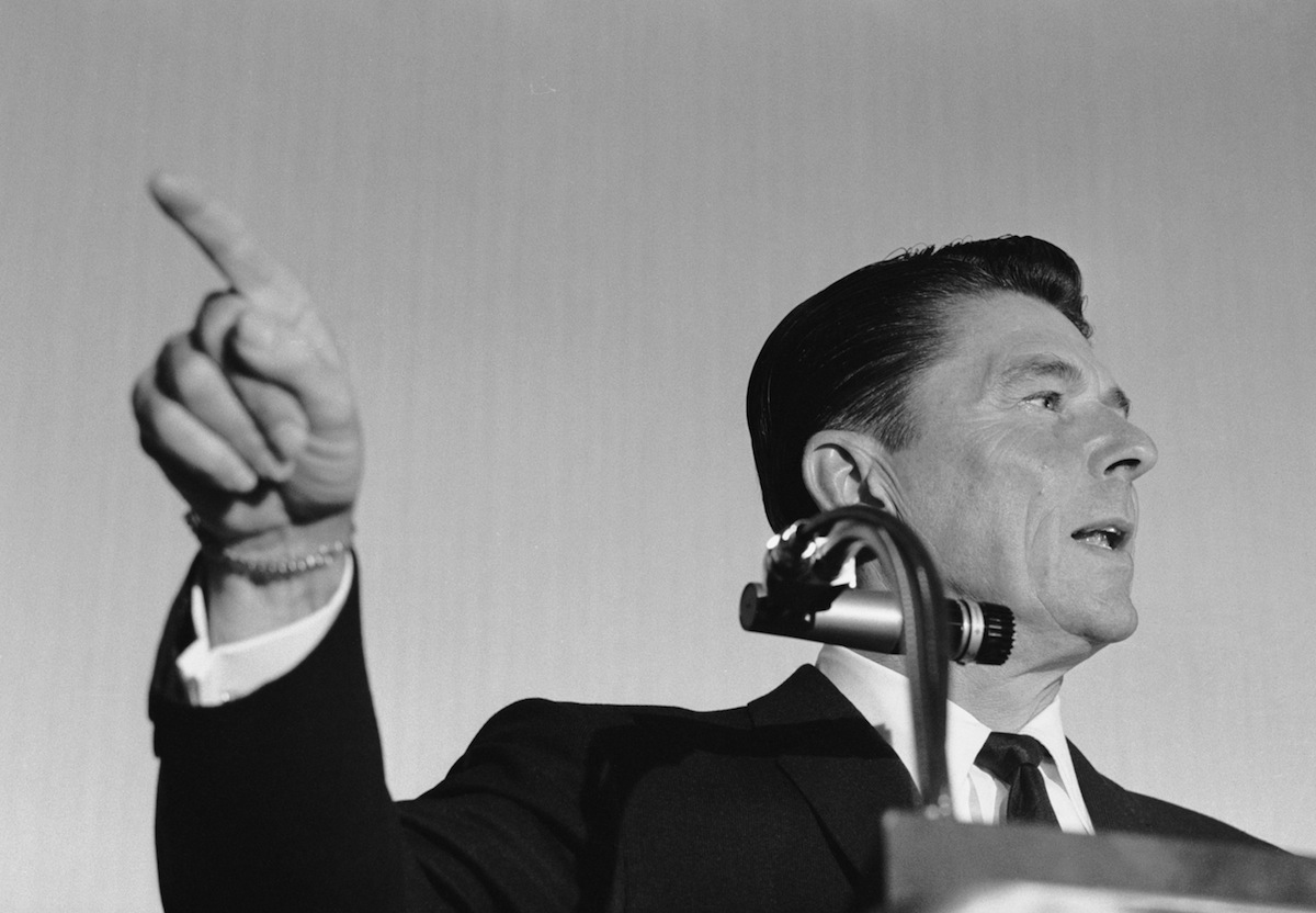Ronald Reagan giving a speech in 1965