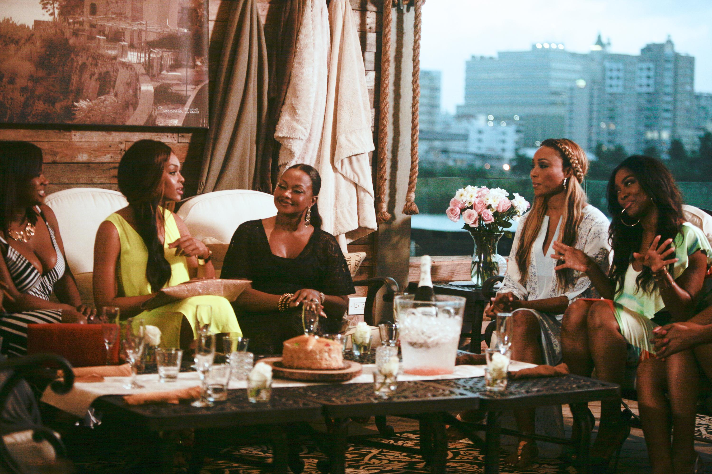 From left to right; Kandi Burruss, Demetria McKinney, Phaedra Parks, Cynthia Bailey, Kenya Moore on                     The Real Housewives of Atlanta, Season 7.