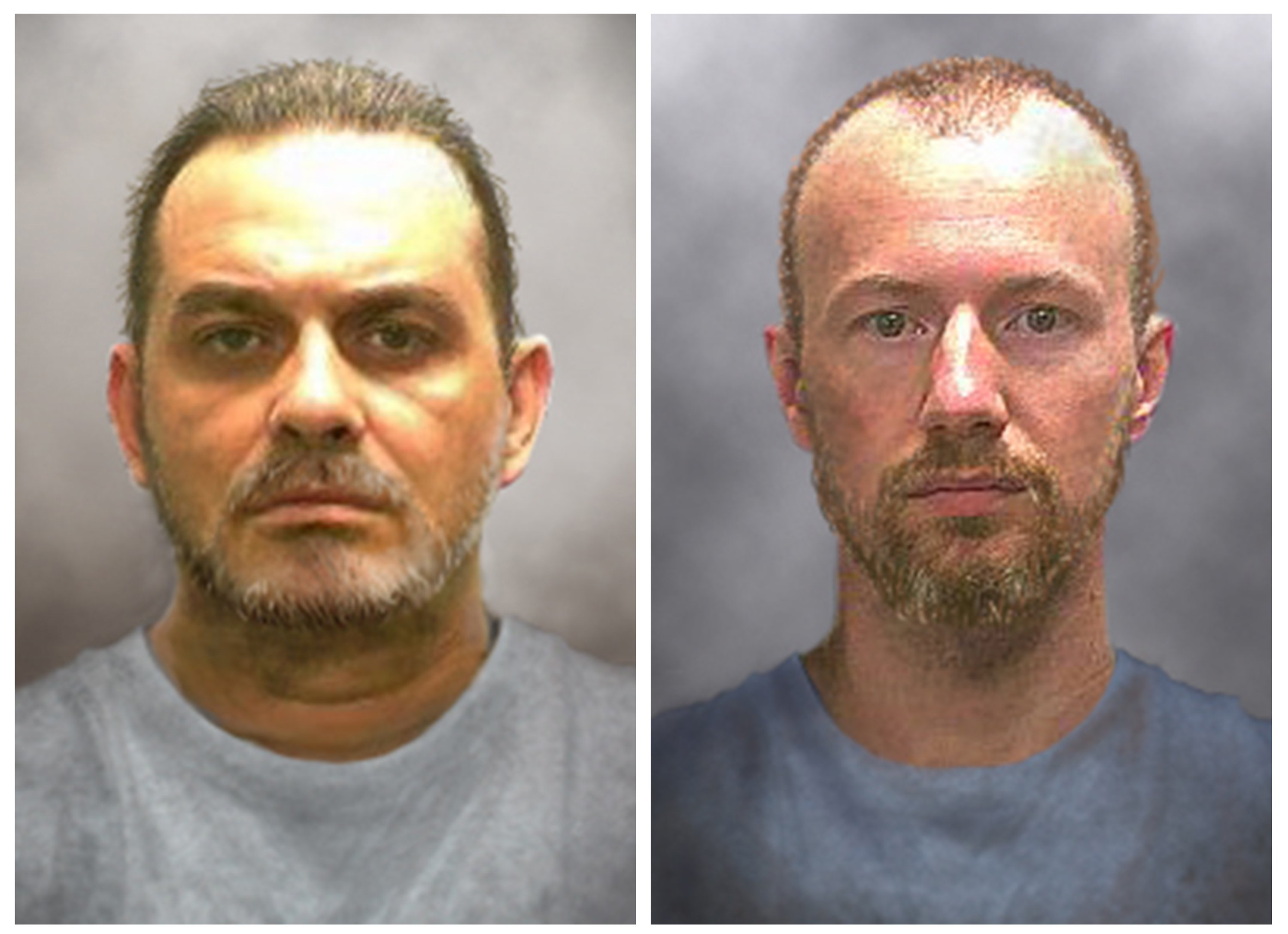 Prison inmates Richard Matt, 48, left, and David Sweat, 35, are seen in a combination of enhanced pictures released by the New York State police June 17, 2015, showing how they might look after escaping 12 days ago.