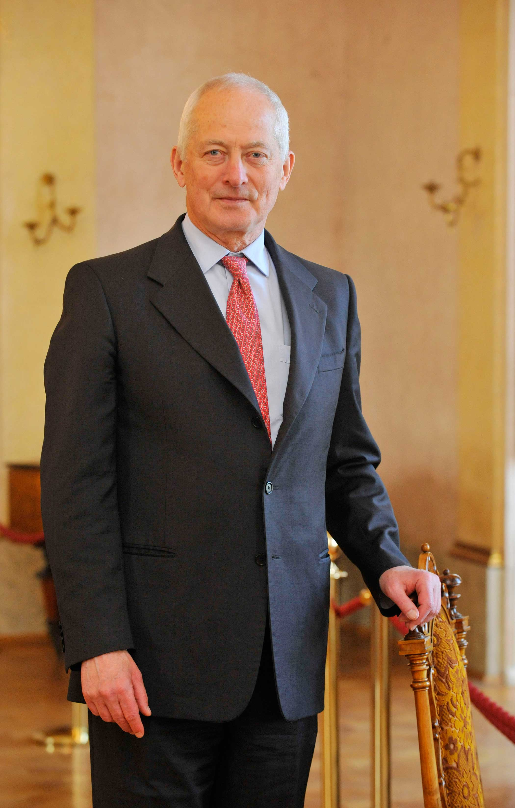 Reigning Prince of Liechtenstein Hans-Adam II is seen during his visit in Olomouc, Czech Republic on May 20, 2014 on the occasion of the presentation of proceedings of international scientific conference titled Princely House of Liechtenstein family in the history of the Czech lands.