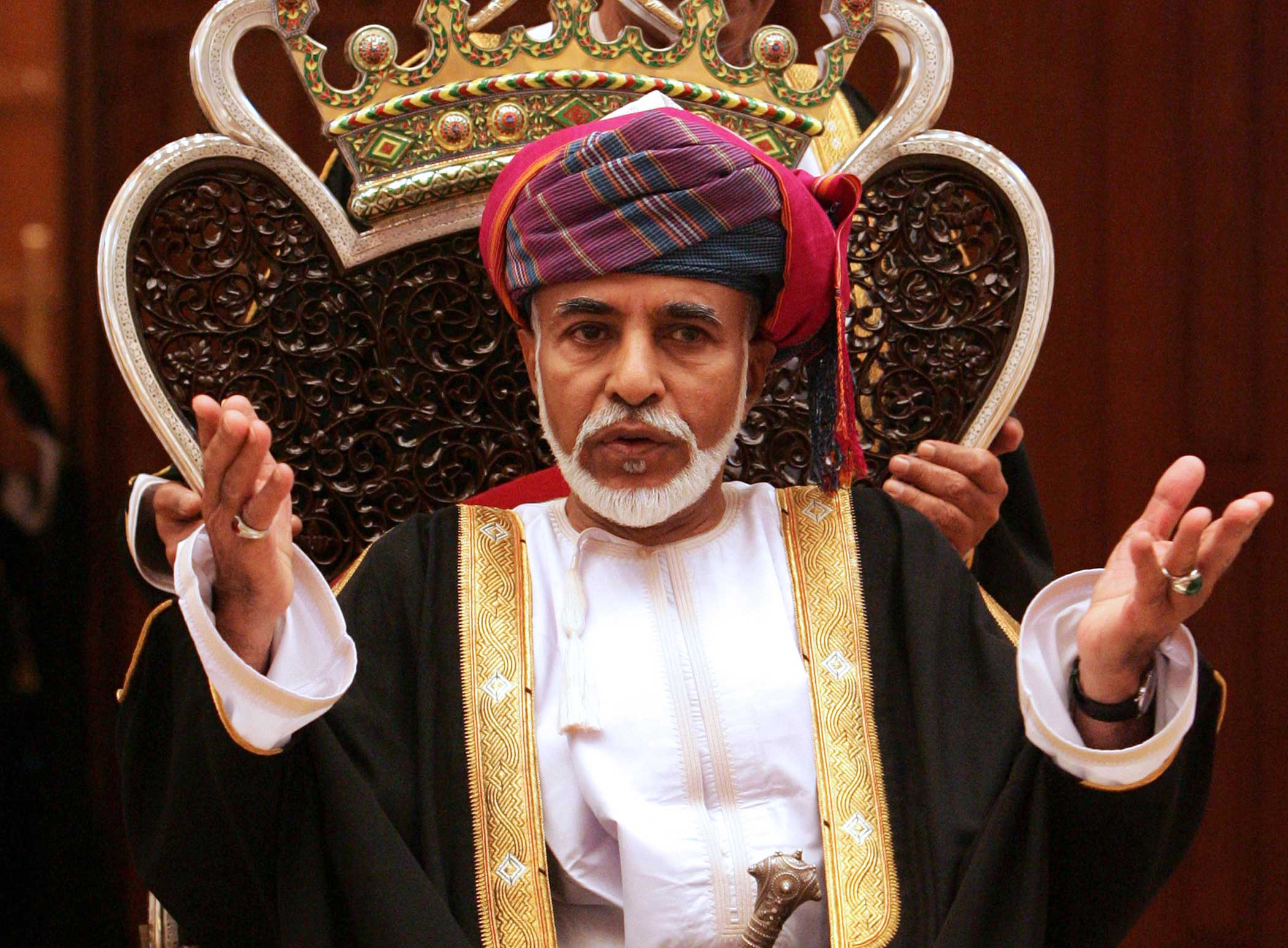 Omani Leader Sultan Qaboos bin Said addresses the opening session of the Council of Oman in Muscat on Oct. 31, 2011.