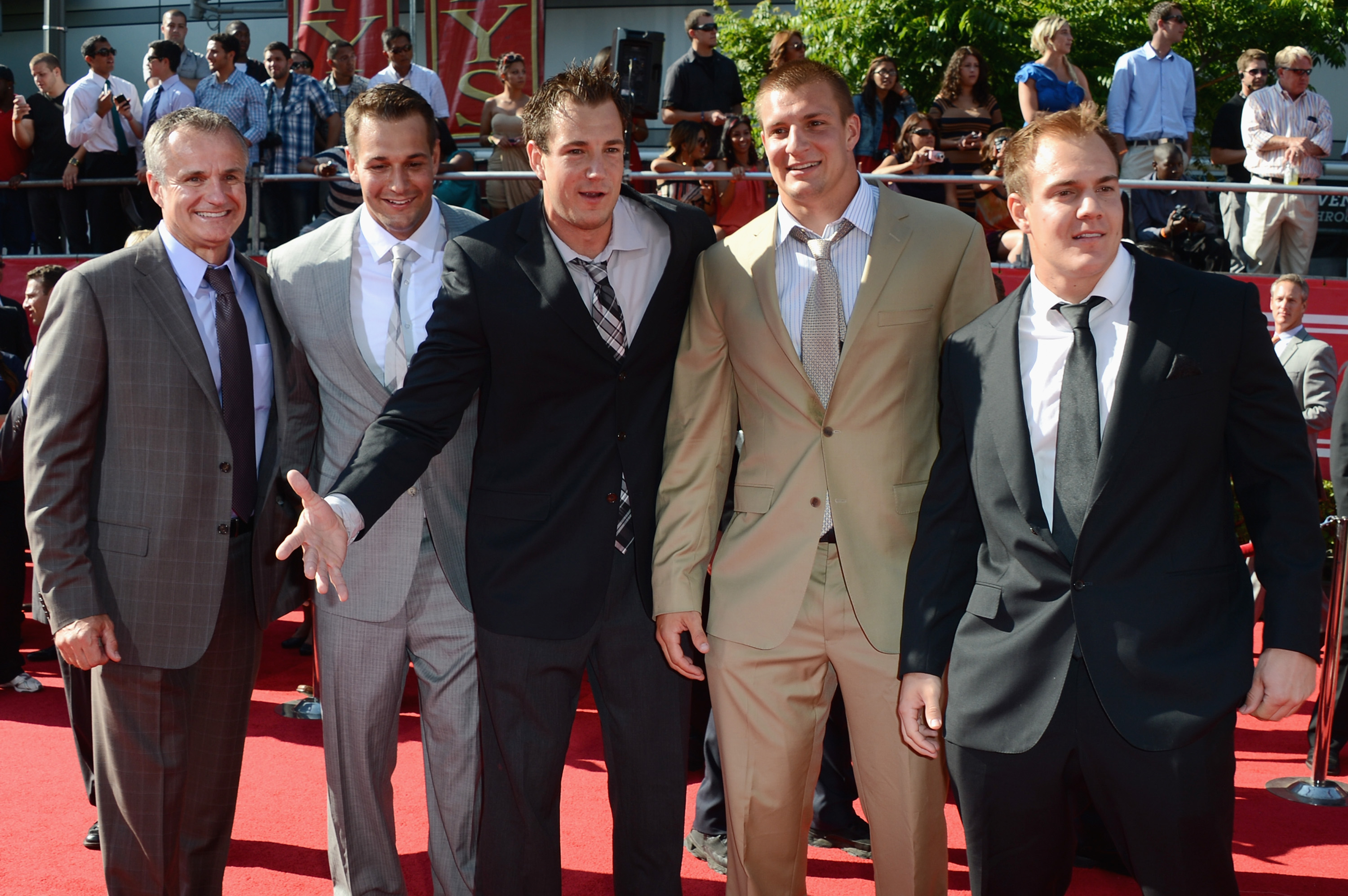 (L-R)Father Gord Gronkowski, Brothers Dan Gronkowski, Gordie Gronkowski, Rob Gronkowski and Glenn Gronkowski arrive at the 2012 ESPY Awards at Nokia Theatre L.A. Live on July 11, 2012 in Los Angeles.