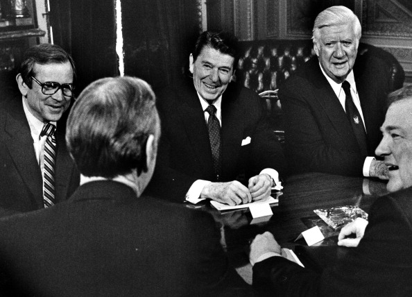 From left: Senator Howard Baker, President Ronald Reagan, Speaker of the House Thomas (Tip) O'Neill, Congressman Jim Wright, and Edwin Meese talk during a Budget Summit in Washington on April 28, 1982.