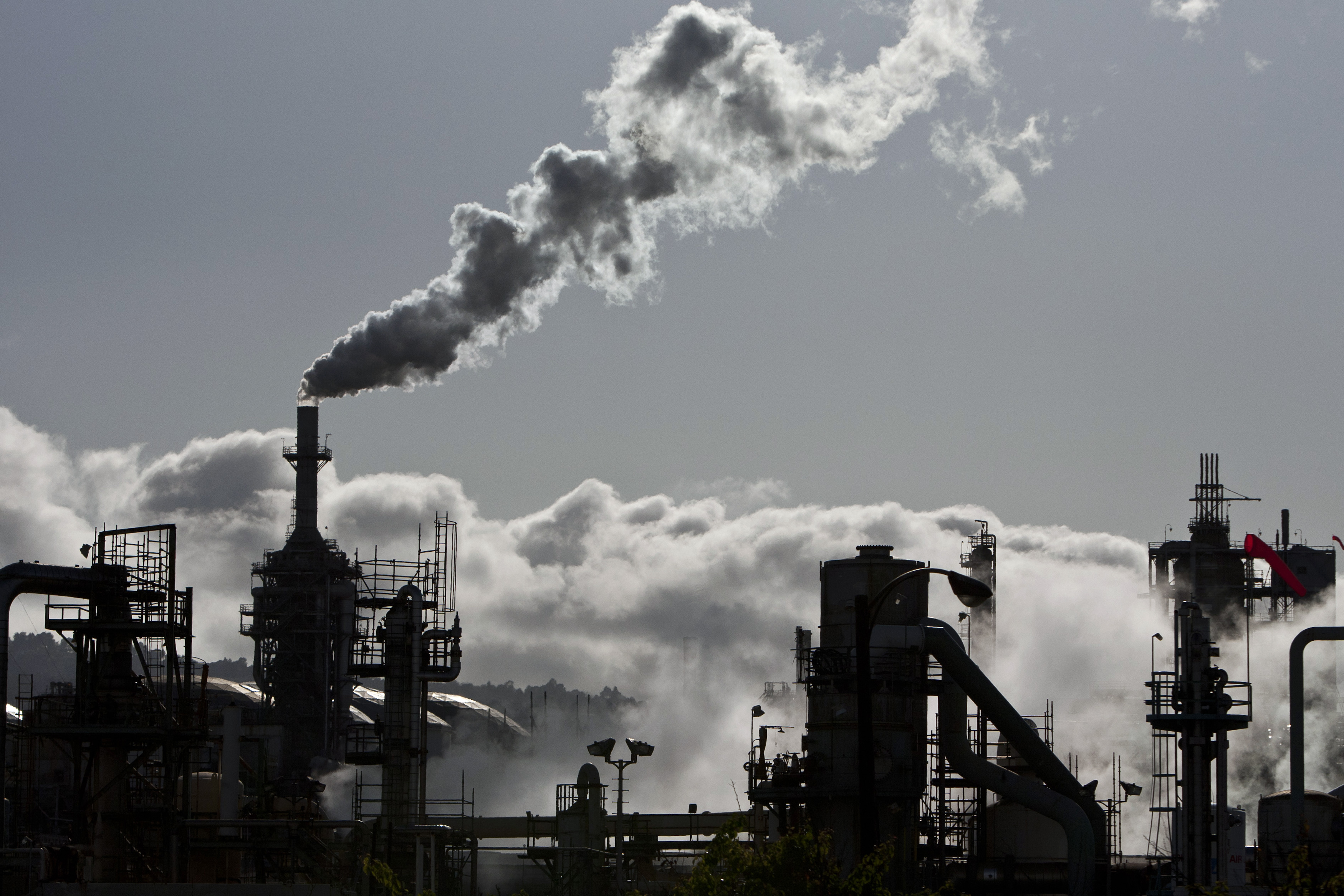 Smoke is released into the sky at a refinery in Wilmington, Calif., on March 24, 2012