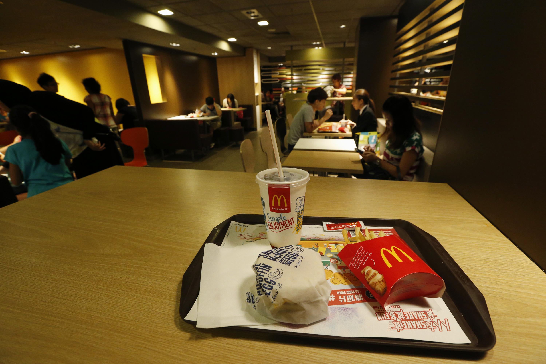 A burger set is displayed at a McDonald's restaurant.