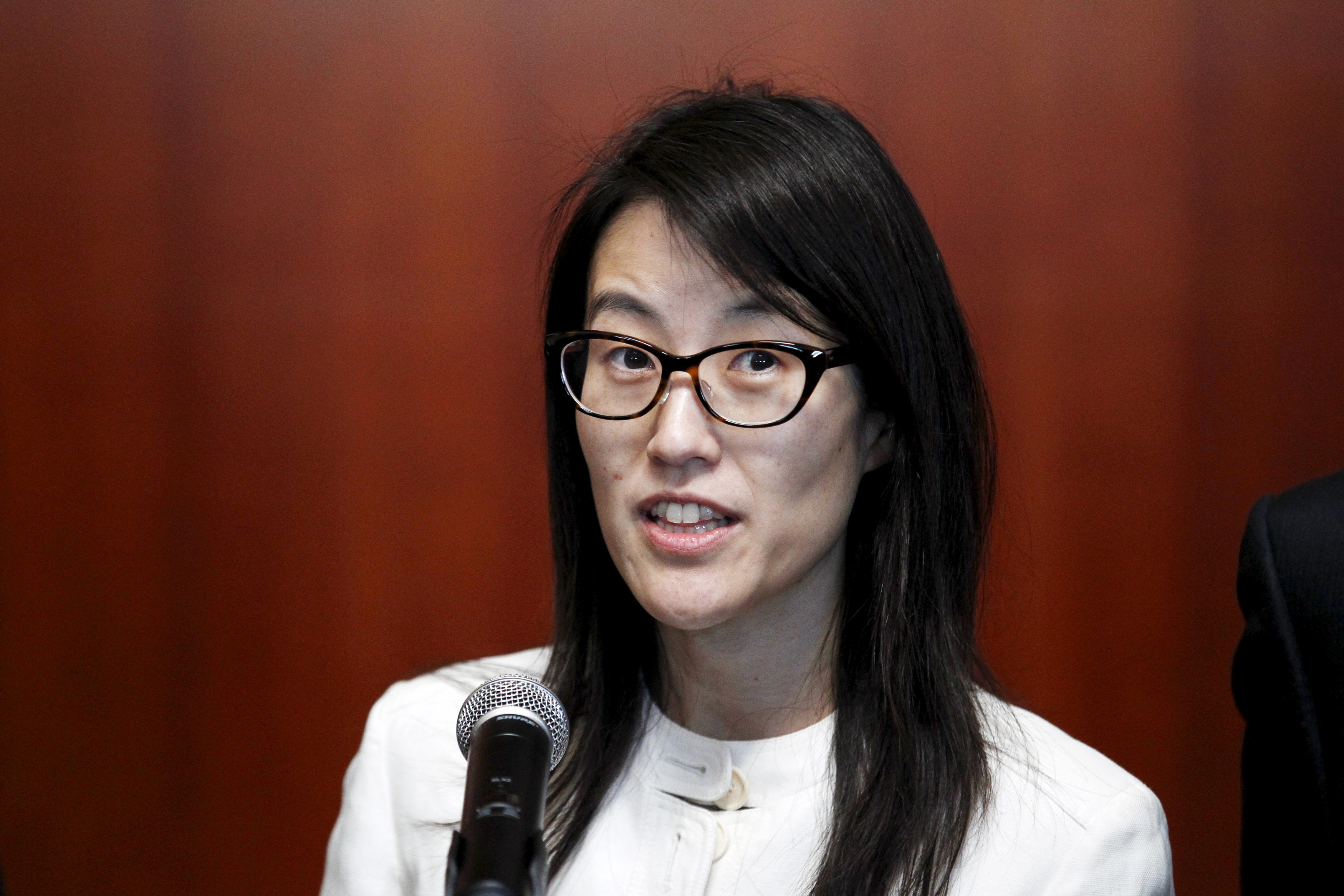 Ellen Pao speaking to the media after losing her high profile gender discrimination lawsuit against venture capital firm Kleiner, Perkins, Caufield and Byers in San Francisco, on March 27, 2015.