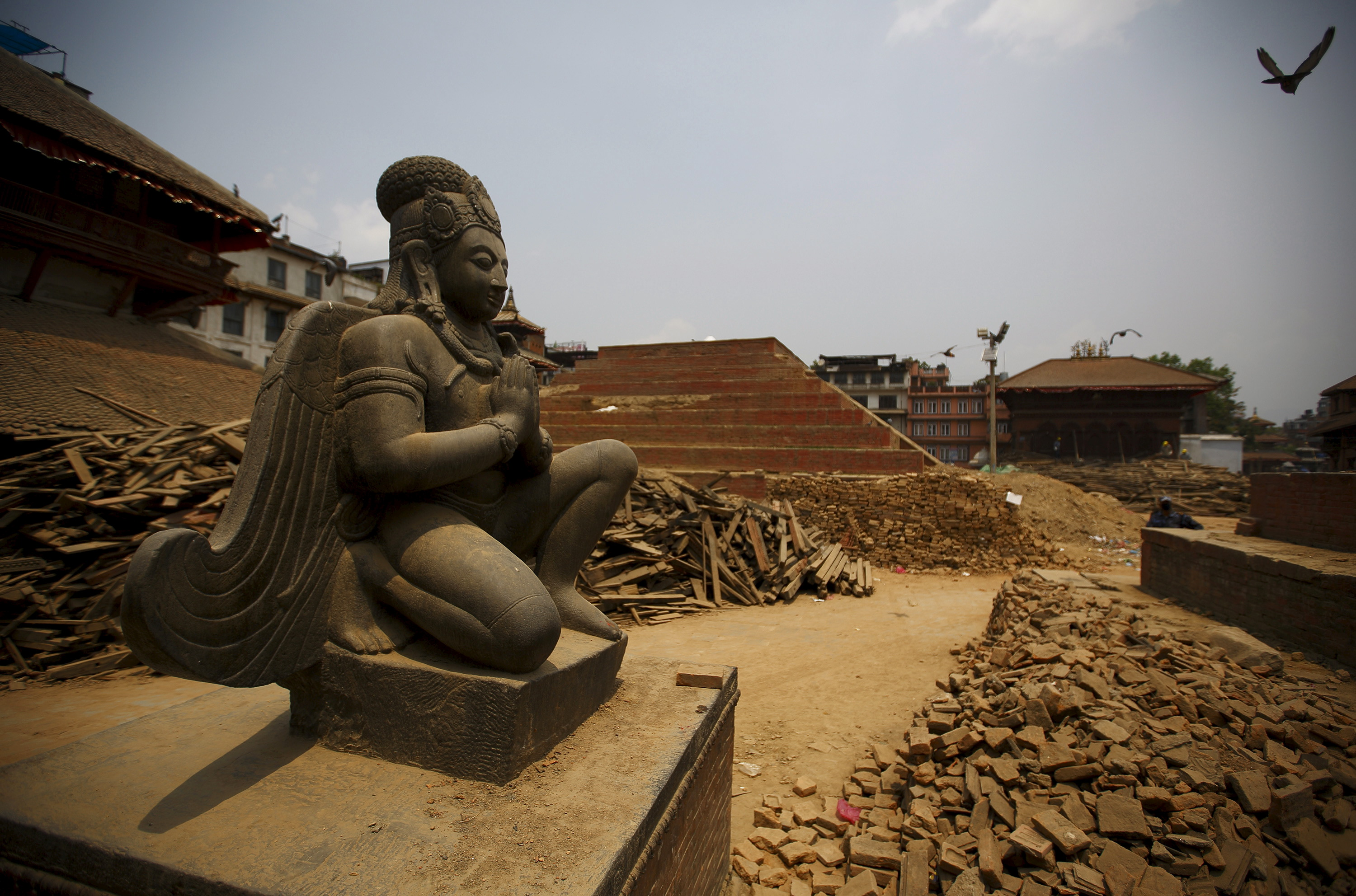 Remains of a collapsed temple at Bashantapur Durbar Square, a UNESCO world heritage site, on May 7, 2015