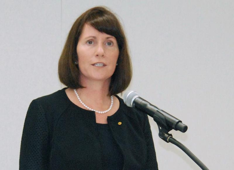 Toyota Motor Corp's Managing Officer and Chief Communications Officer Julie Hamp speaks to media during a news conference in  Nagoya, central Japan, in this photo taken by Kyodo June 17, 2015 and released by Kyodo on June 18, 2015