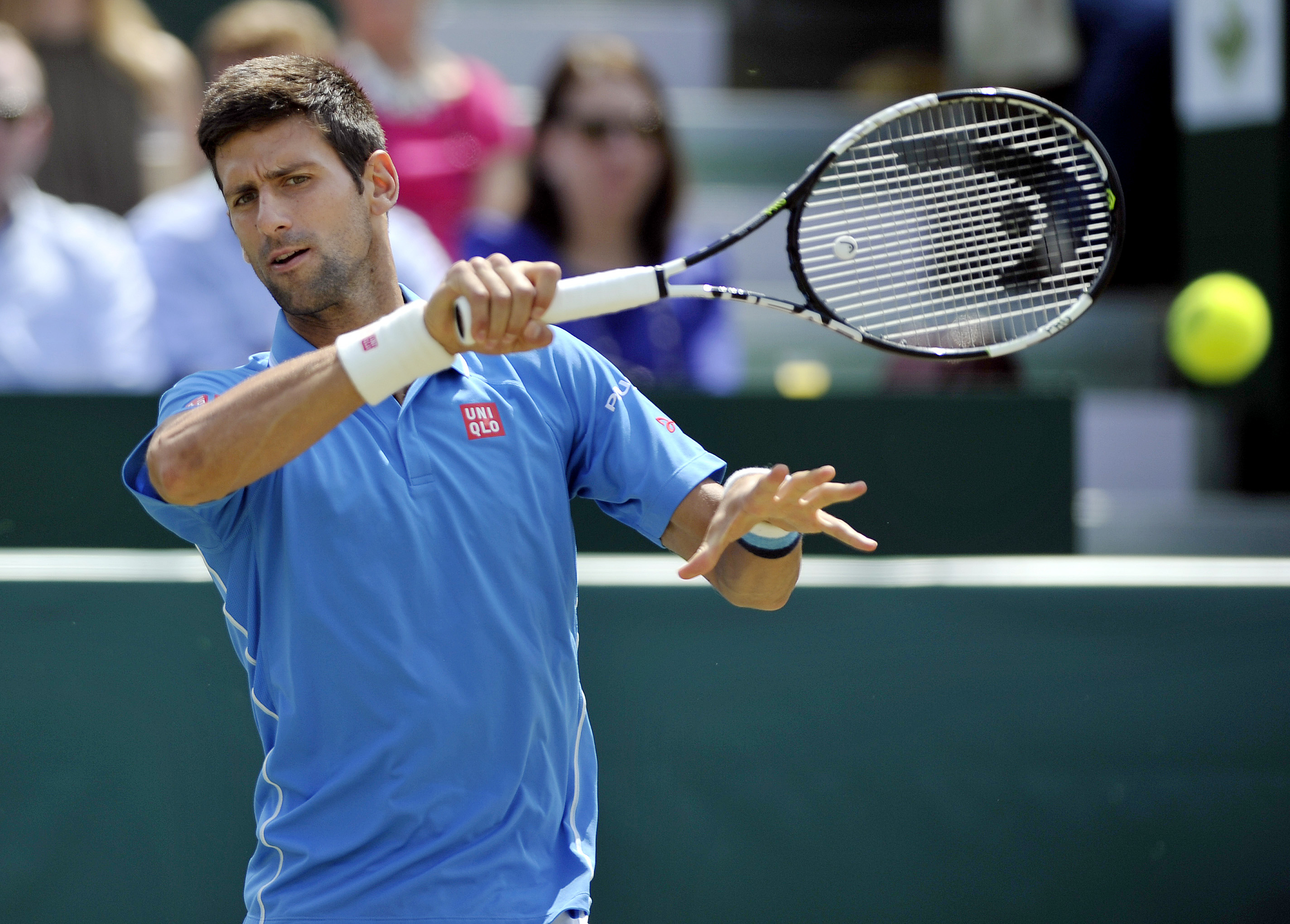 Serbia's Novak Djokovic in action at the Boodles Tennis Challenge in Stoke Park, Buckinghamshire, England, on June 26, 2015