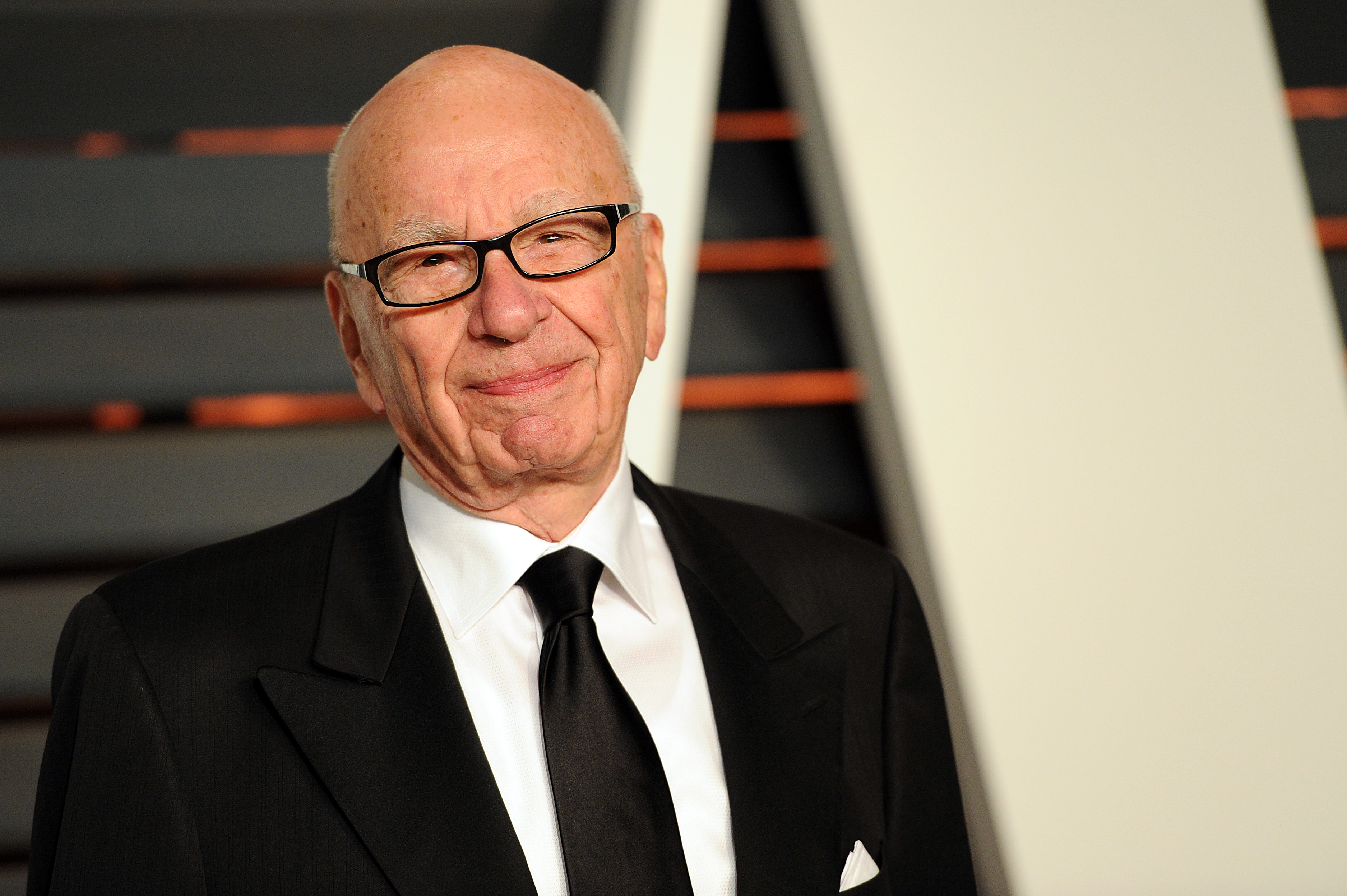 Rupert Murdoch arrives at the 2015 Vanity Fair Oscar Party on Feb. 22, 2015, in Beverly Hills, Calif.