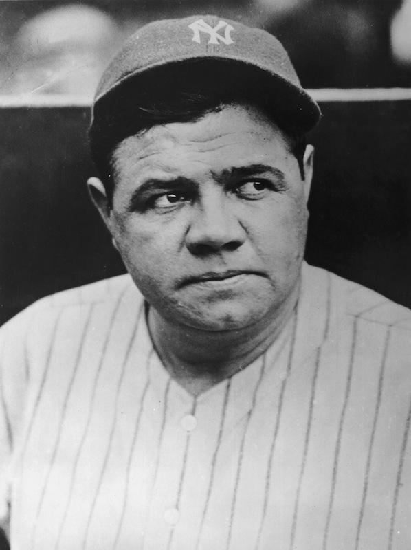 Babe Ruth wearing his New York Yankees uniform and cap, circa 1935