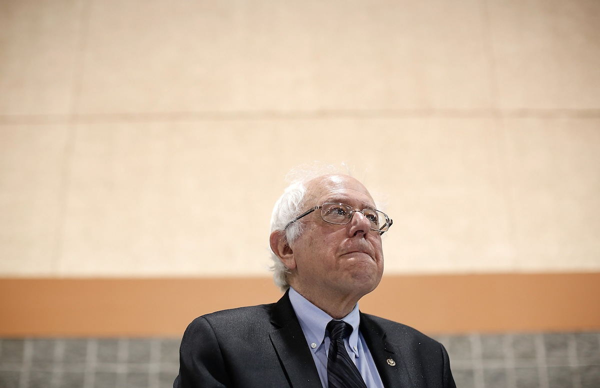Potential Democratic presidential candidate Sen. Bernie Sanders (R) (I-VT) waits to deliver his remarks at the South Carolina Democratic Party state convention April 25, 2015 in Columbia, S.C.