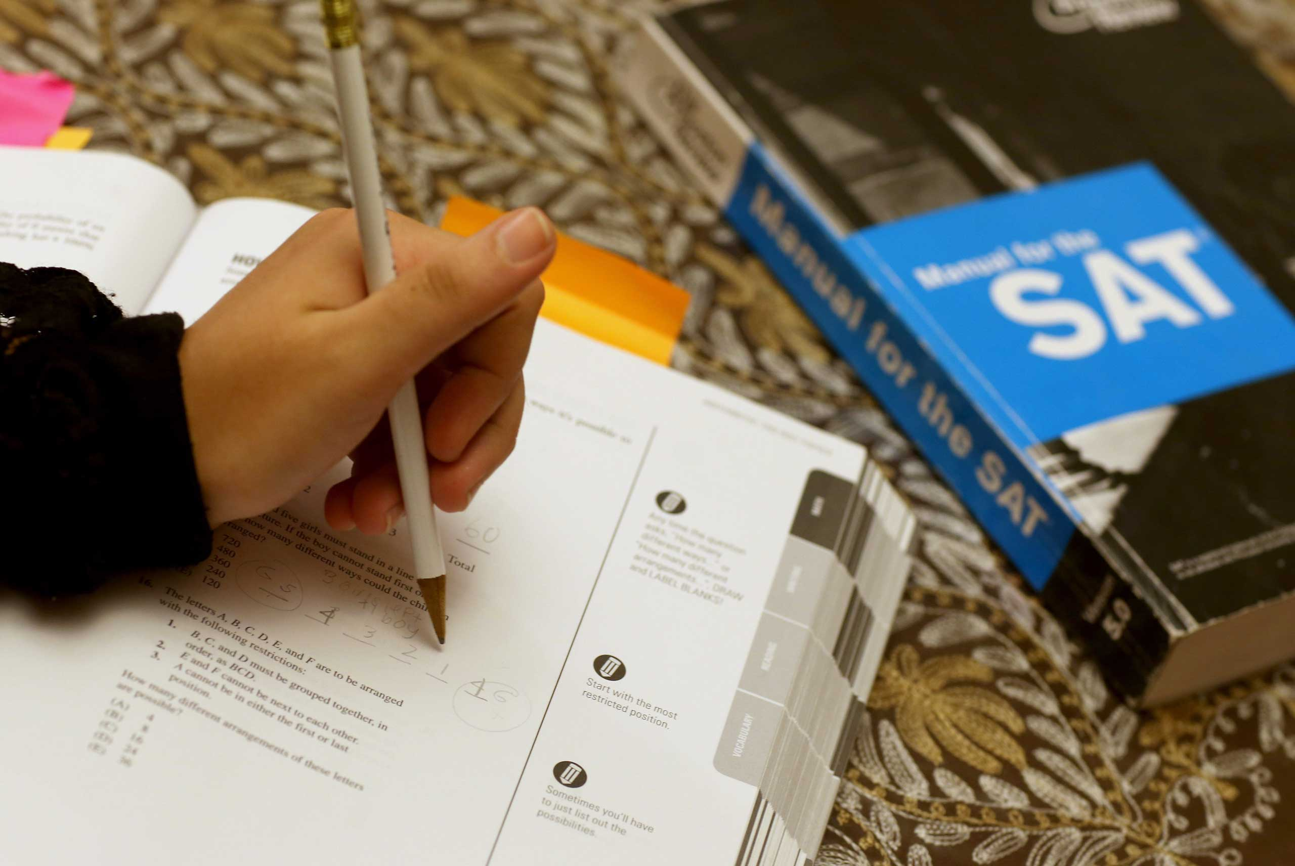 A student prepares for the SAT in Pembroke Pines, Fla., last year.