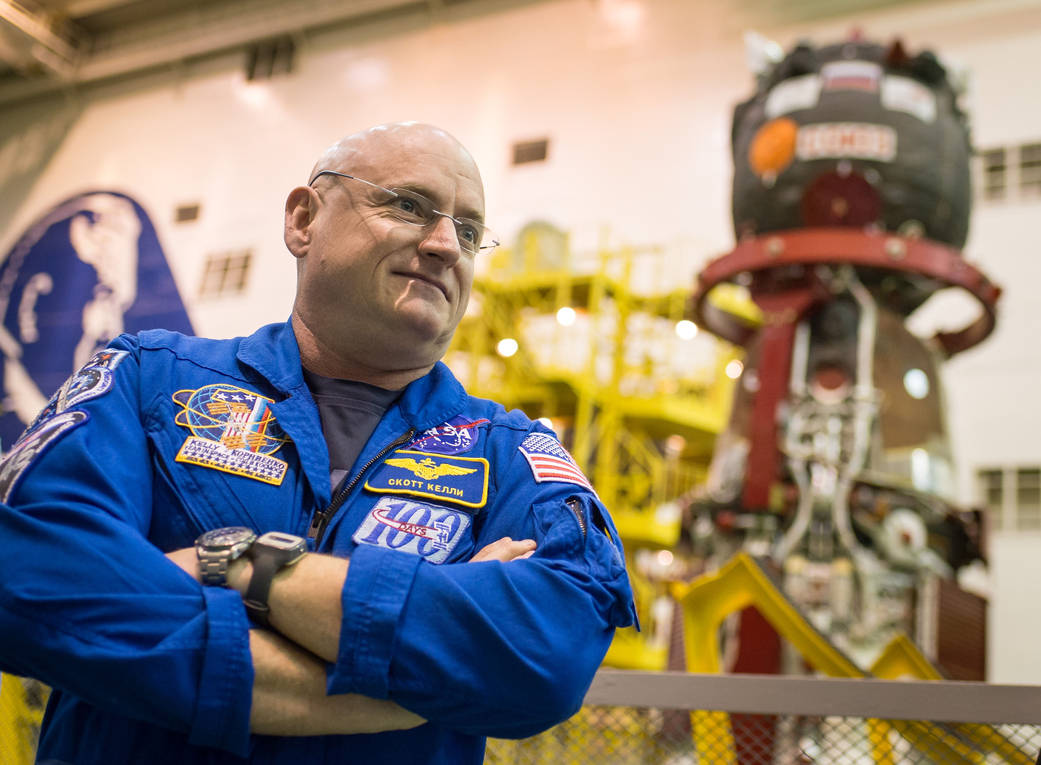 Looking good: A healthy and well-vaccinated Scott Kelly on March 23, 2015, six days before launch