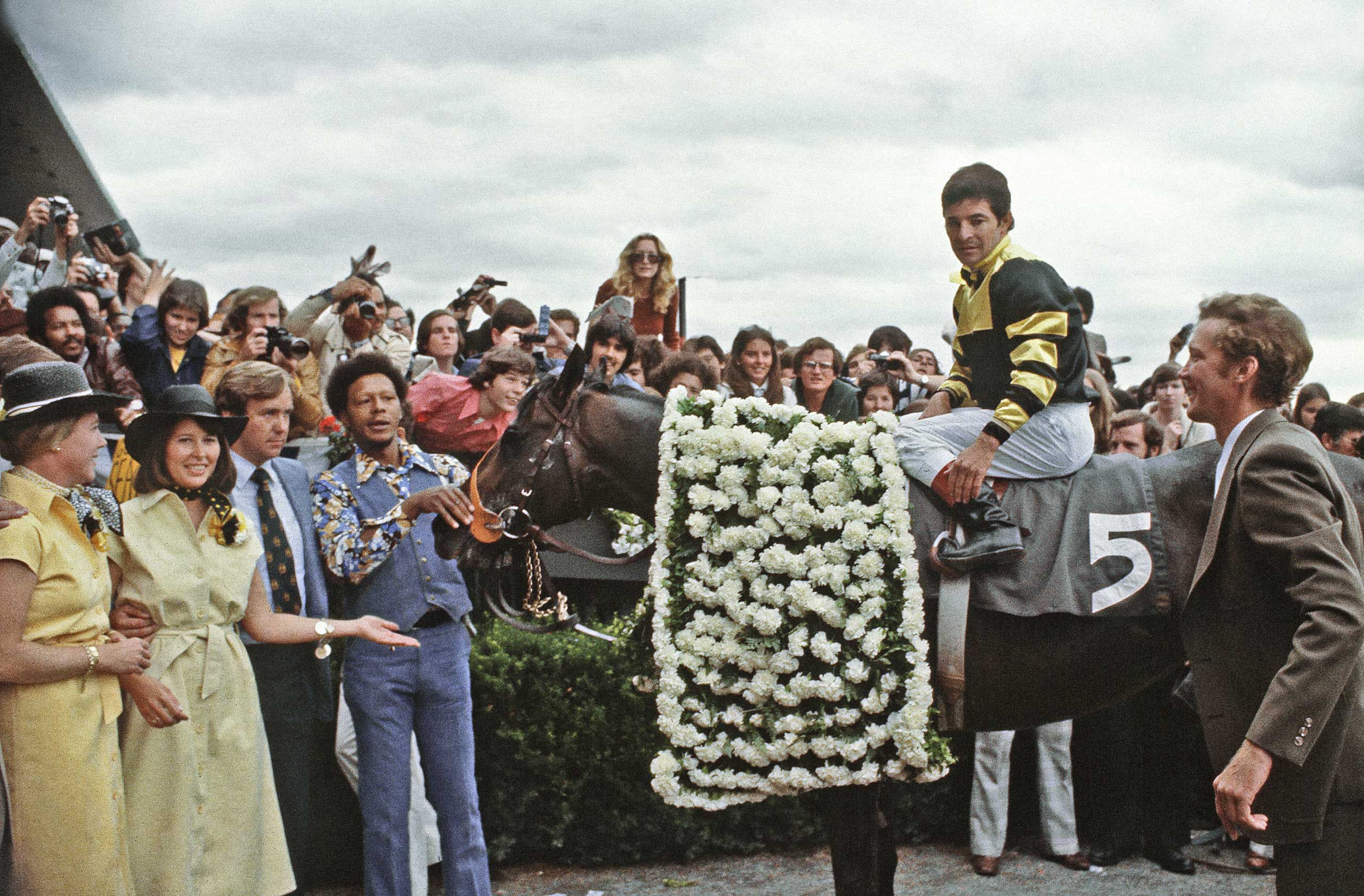 1977: Seattle Slew with jockey Jean Cruguet