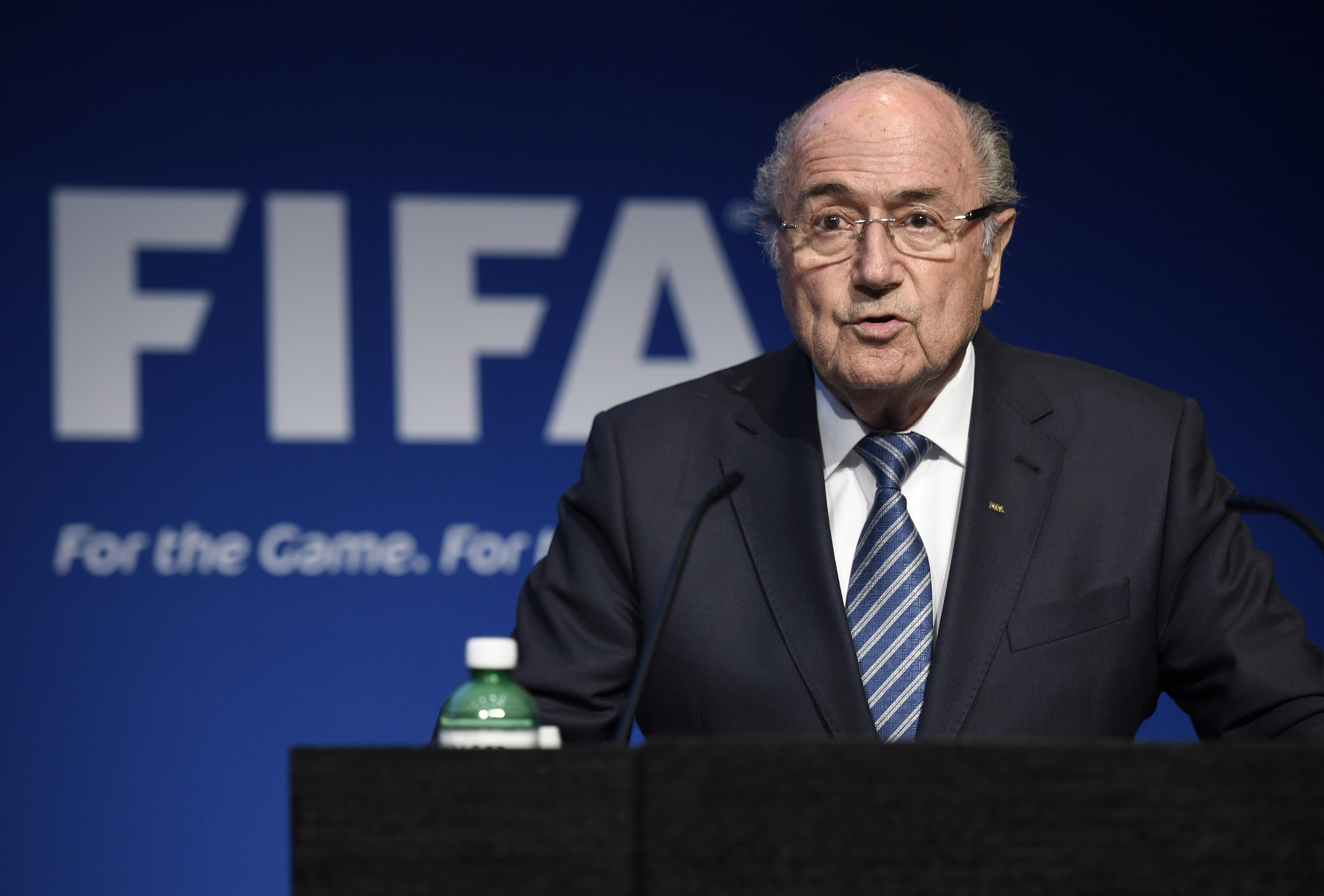FIFA President Sepp Blatter speaks during a press conference at the FIFA headquarters in Zurich, June 2, 2015.