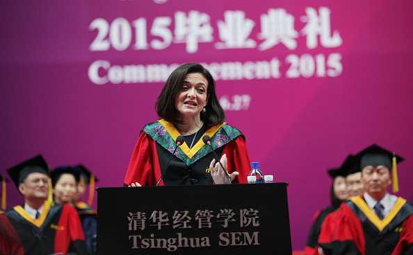 Sheryl Sandberg, Chief Operating Officer of Facebook, delivers a commencement speech for School of Economics and Management at Tsinghua University in Beijing on June 27, 2015.