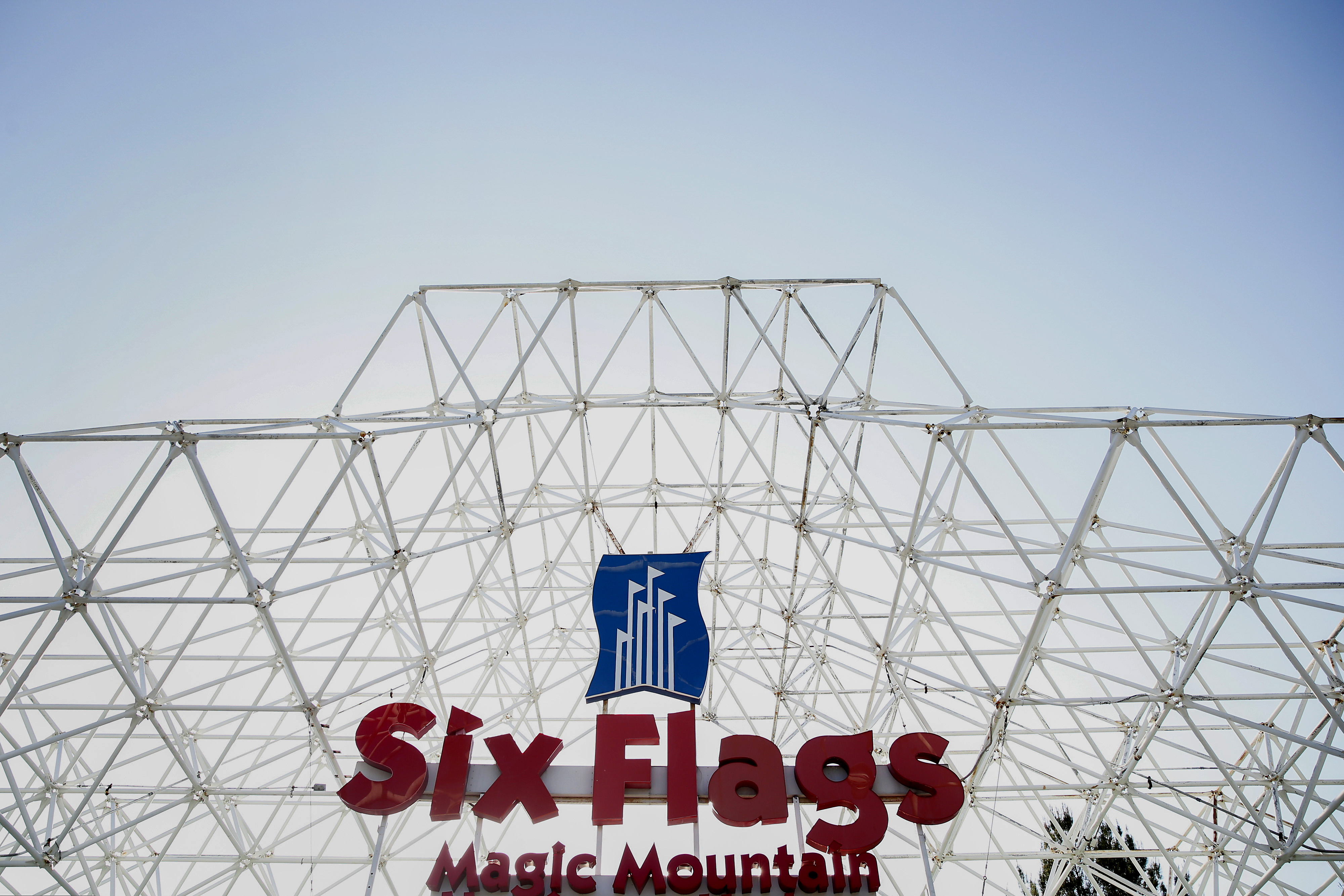 Six Flags Magic Mountain signage is displayed at the theme park in Valencia, California, U.S., on Monday, April 20, 2015.