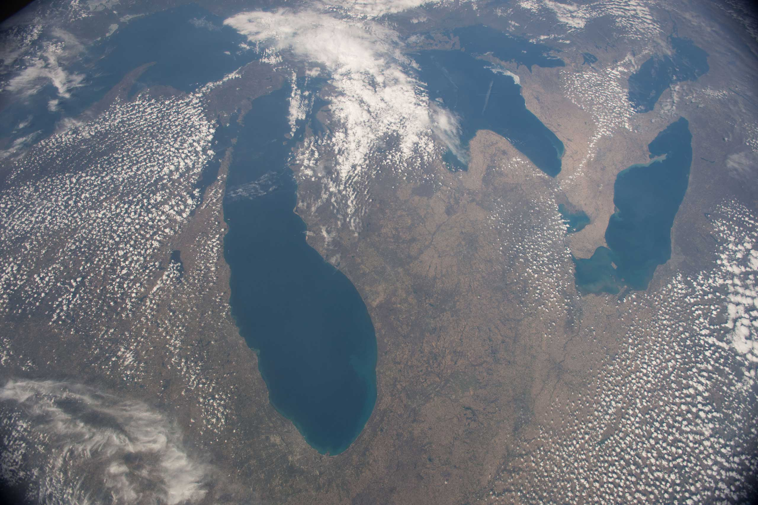 This image of the American upper Midwest and parts of Canada was captured by NASA astronaut Terry Virts on the International Space Station on May 2, 2015. Virts made this comment with the tweet:  It's great to see the #GreatLakes with no snow !