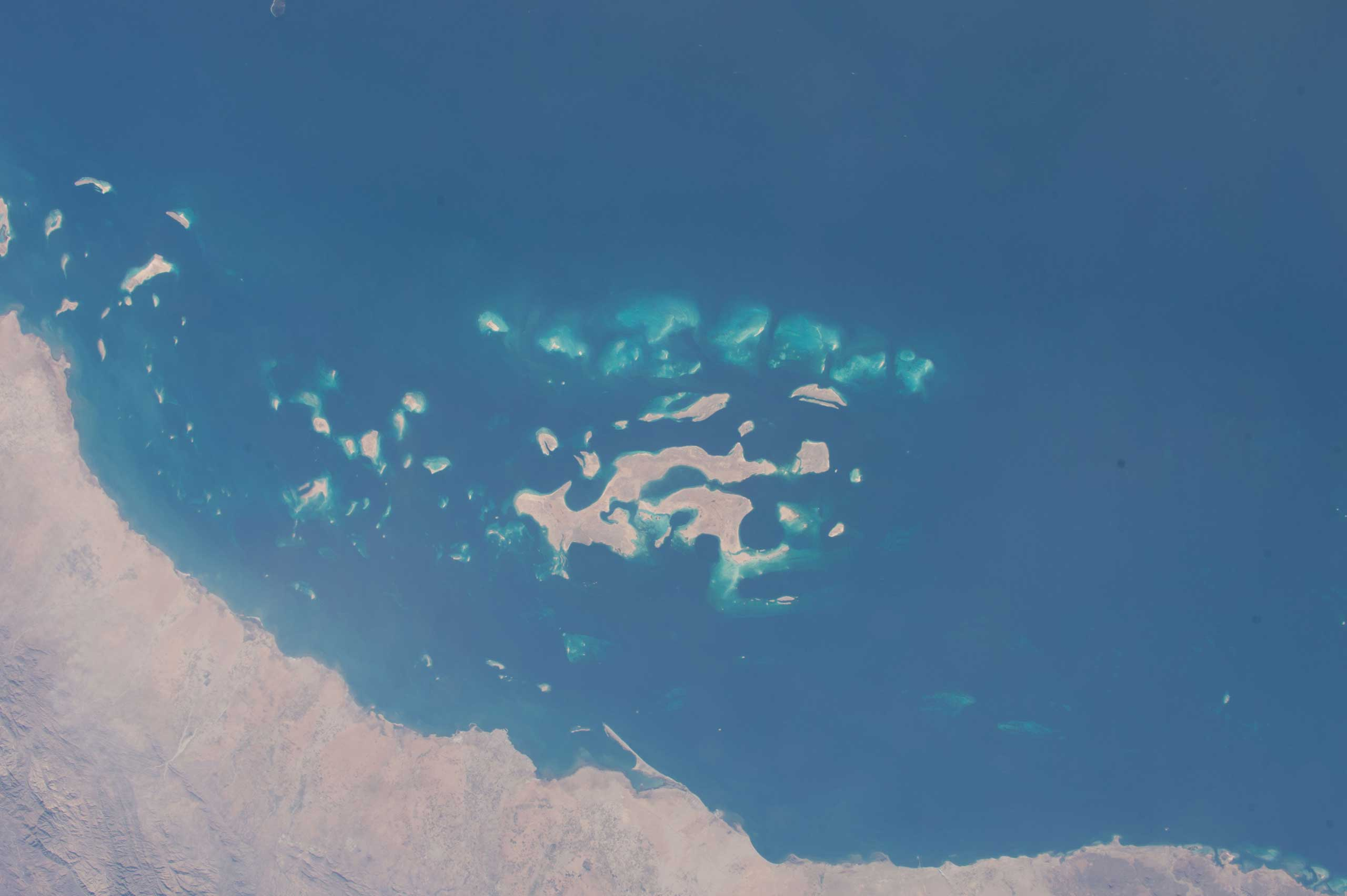 Twitter image from US Astronaut Terry Virts of the Red Sea in the Middle East on Feb. 09, 2015. Terry labeled it  earth art