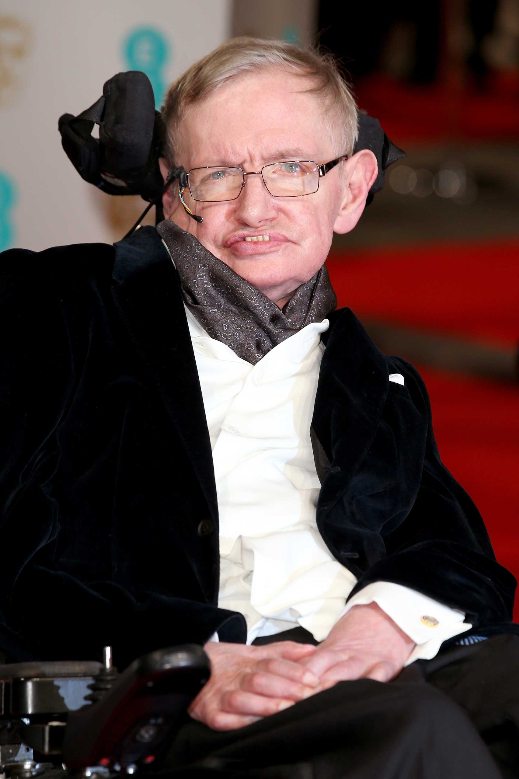 Stephen Hawking attends the EE British Academy Film Awards at The Royal Opera House in London on Feb. 8, 2015.