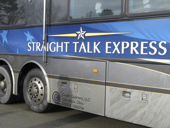 The Straight Talk express bus during Senator John McCain's(R-AZ) visit to a polling booth during the  Straight Talk Express  campaign for the Republican nomination in Nashua, New Hampshire on January 8, 2007.