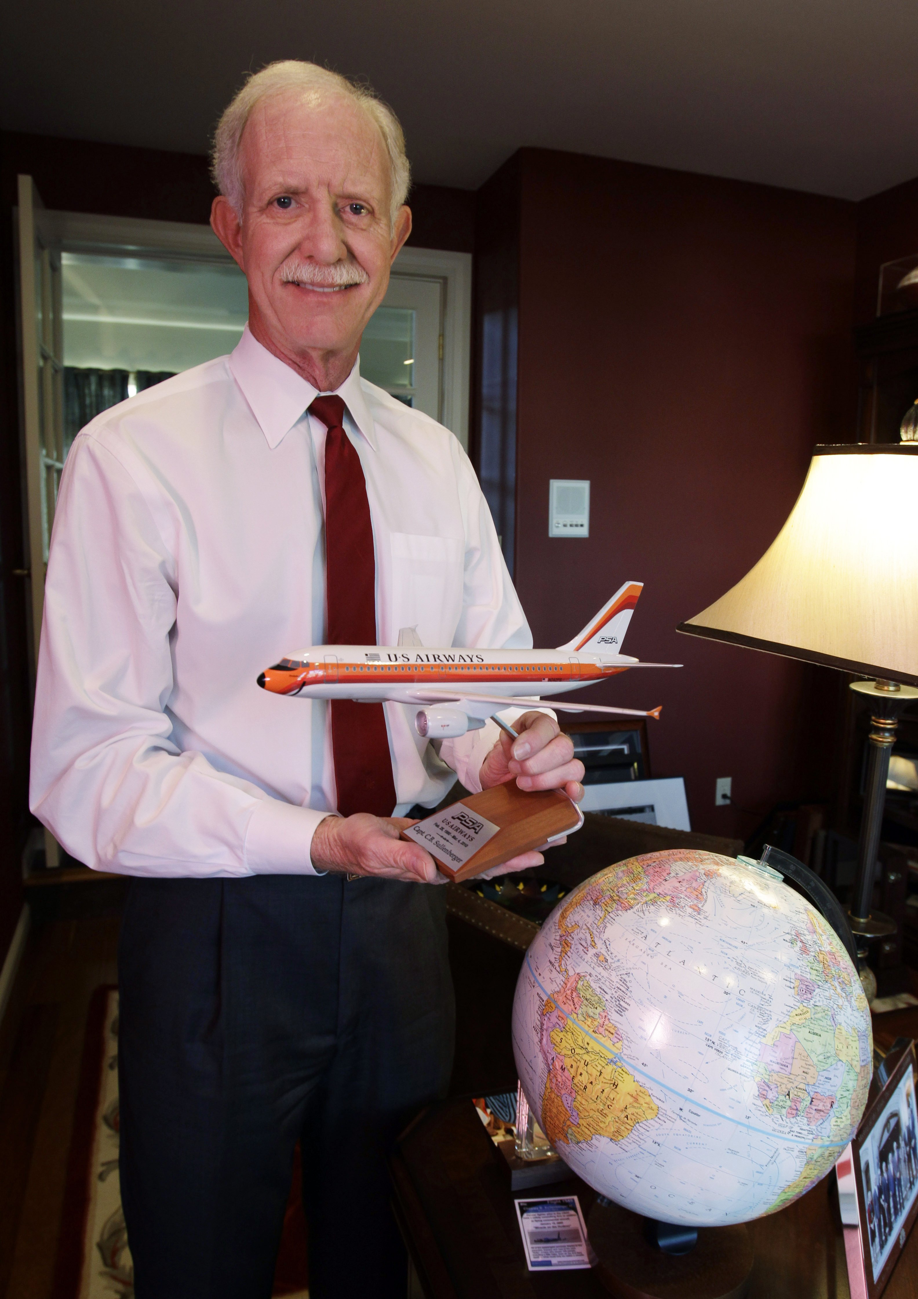 Chesley  Sully  Sullenberger captain of the US Airways flight #5149 that landed in New York's Hudson River in 2009, poses in his office at his home in Danville, Calif on Jan. 10. 2011.