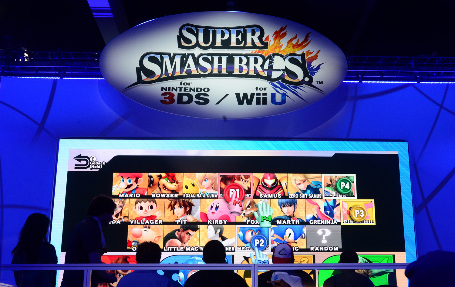 Gamers play Super Smash Bros. for Nintendo 3Ds at the annual E3 video game extravaganza in Los Angeles, California on June 10, 2014.