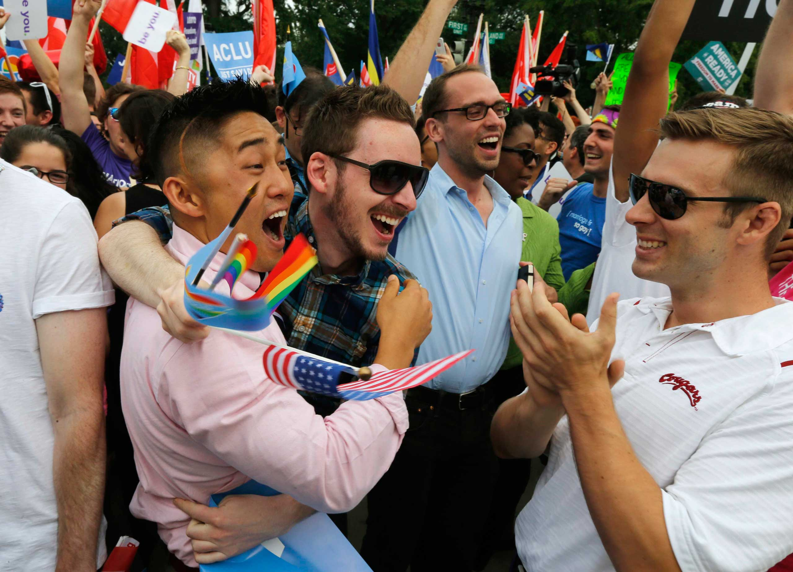 Supporters of same-sex marriage celebrate outside of the Supreme Court in Washington, on June 26, 2015.