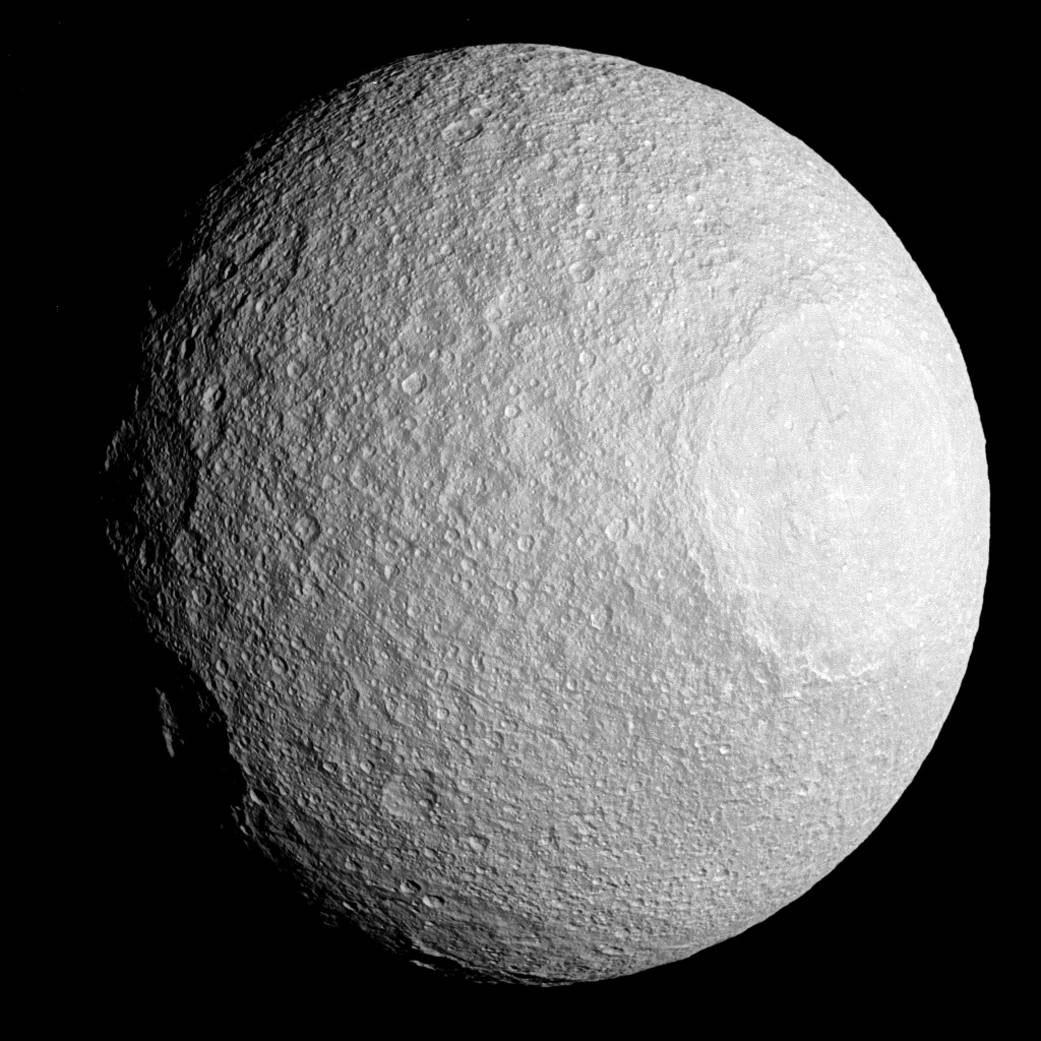 Saturn's moon Tethys captured by Cassini.